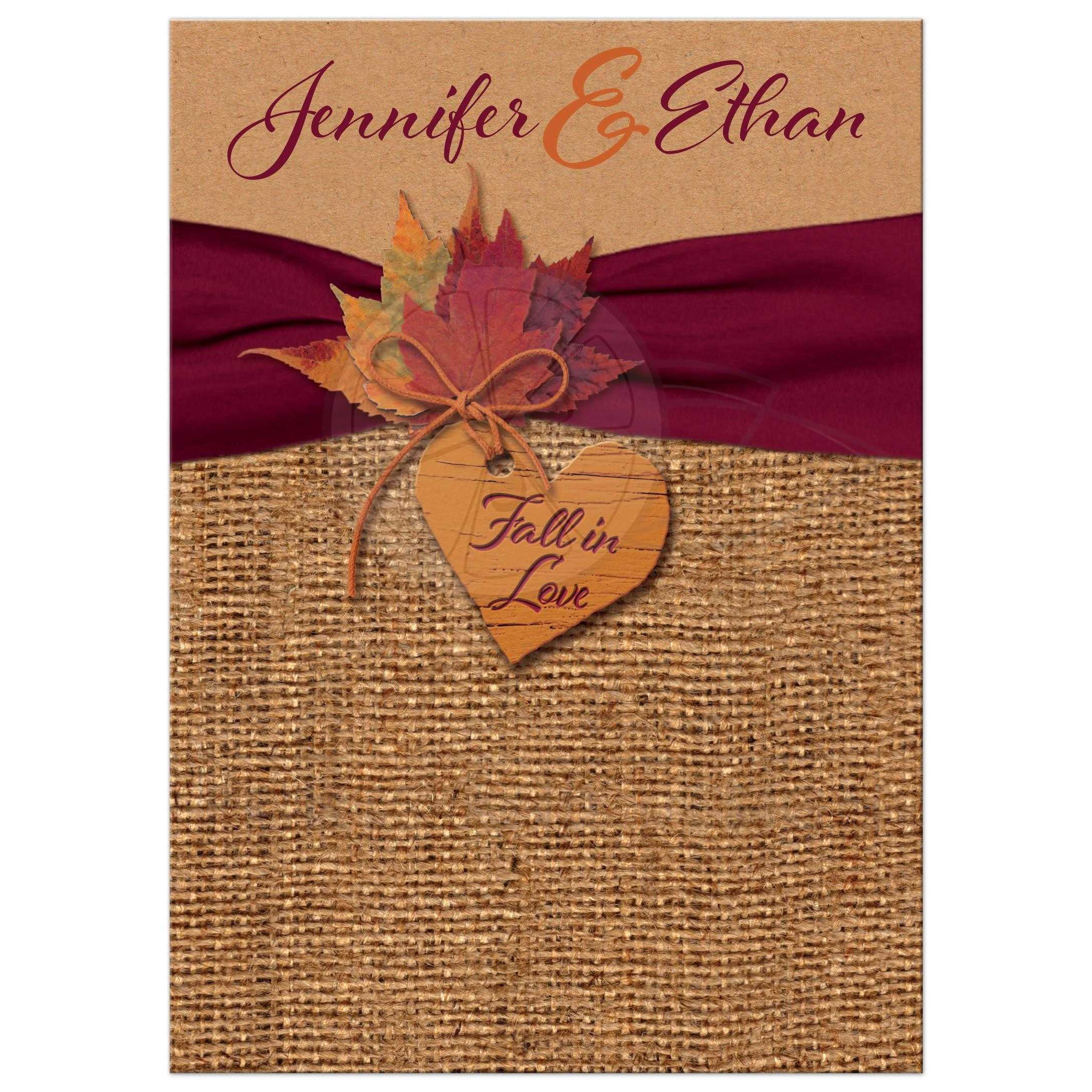 Rustic Burlap And Kraft Paper Wedding Invitations With A Burgundy Ribbon Orange Painted Wood Heart