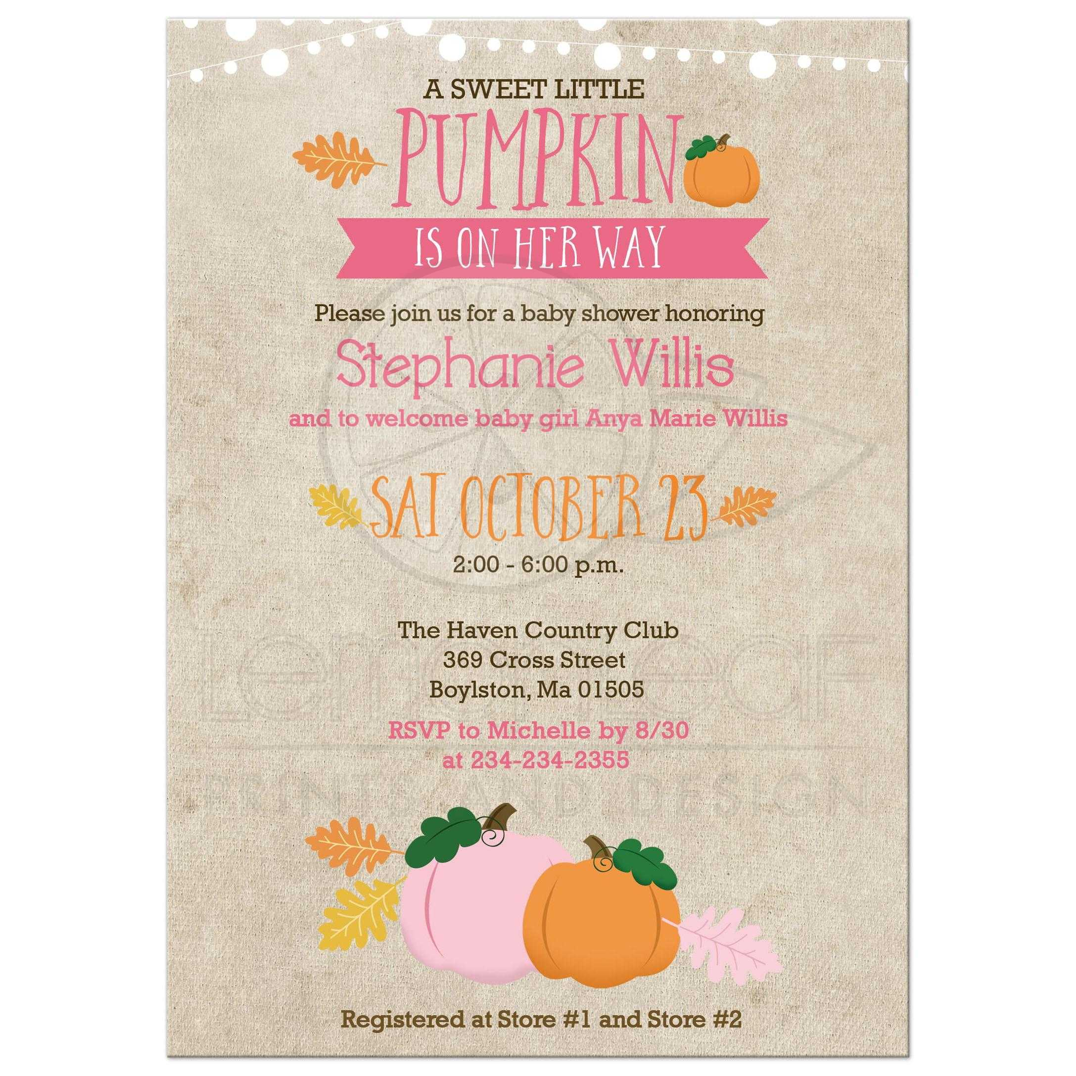Pumpkin Girl Baby Shower Invitations Fall Autumn ...