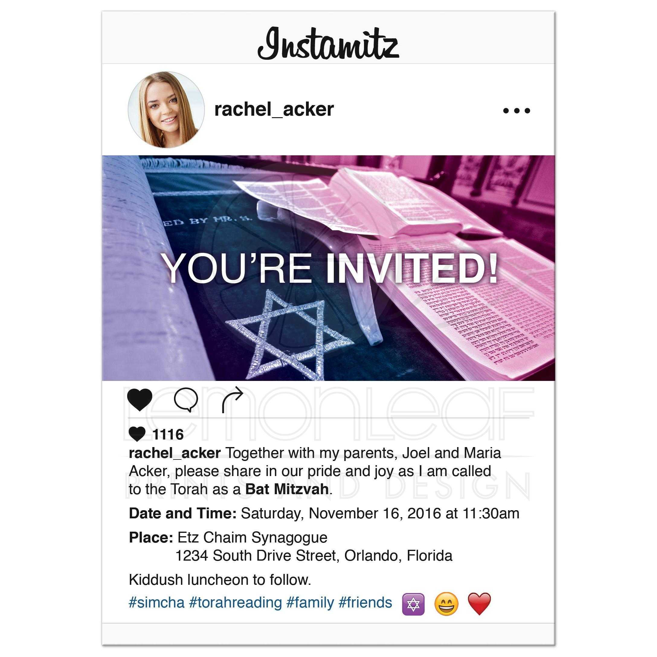 Modern Social Media Bat Mitzvah Invitation Photo Sharing