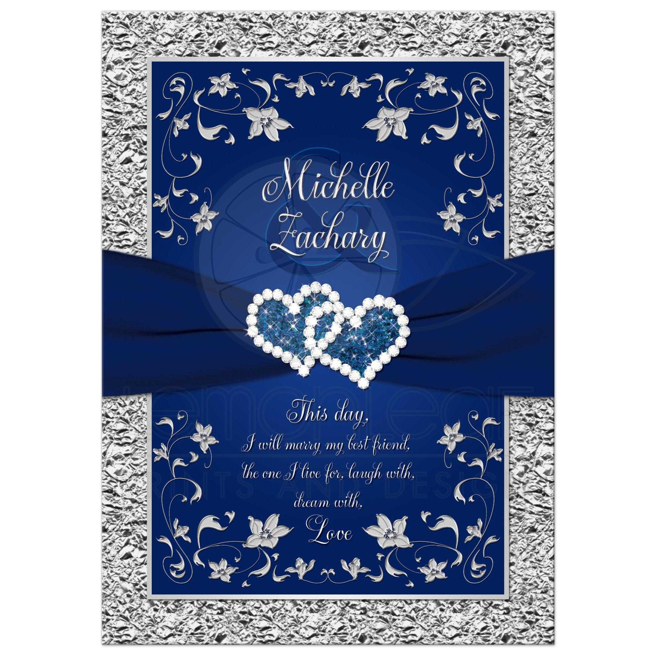 Wedding Invitation Navy Blue Silver Joined Hearts Floral
