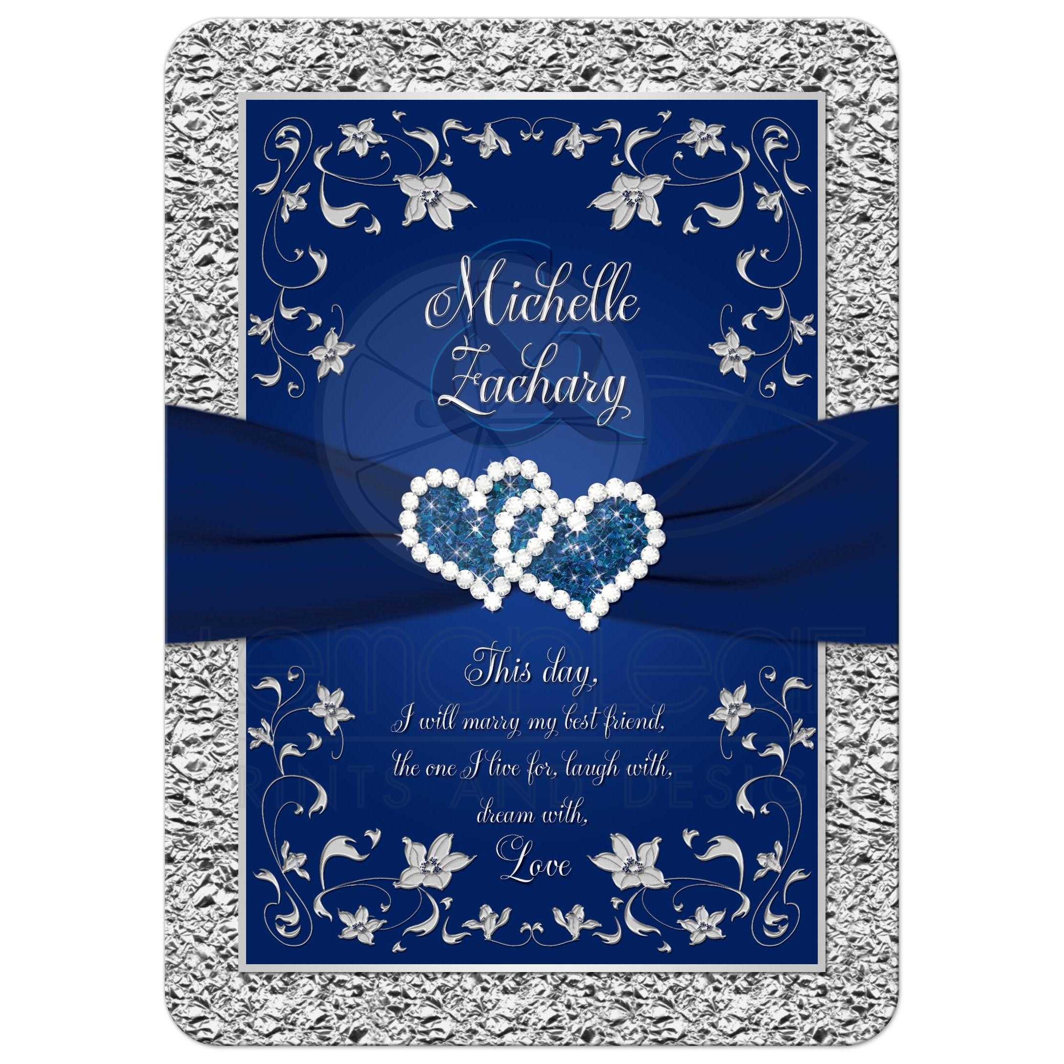navy wedding invitations wedding invitation navy blue silver joined hearts 6135