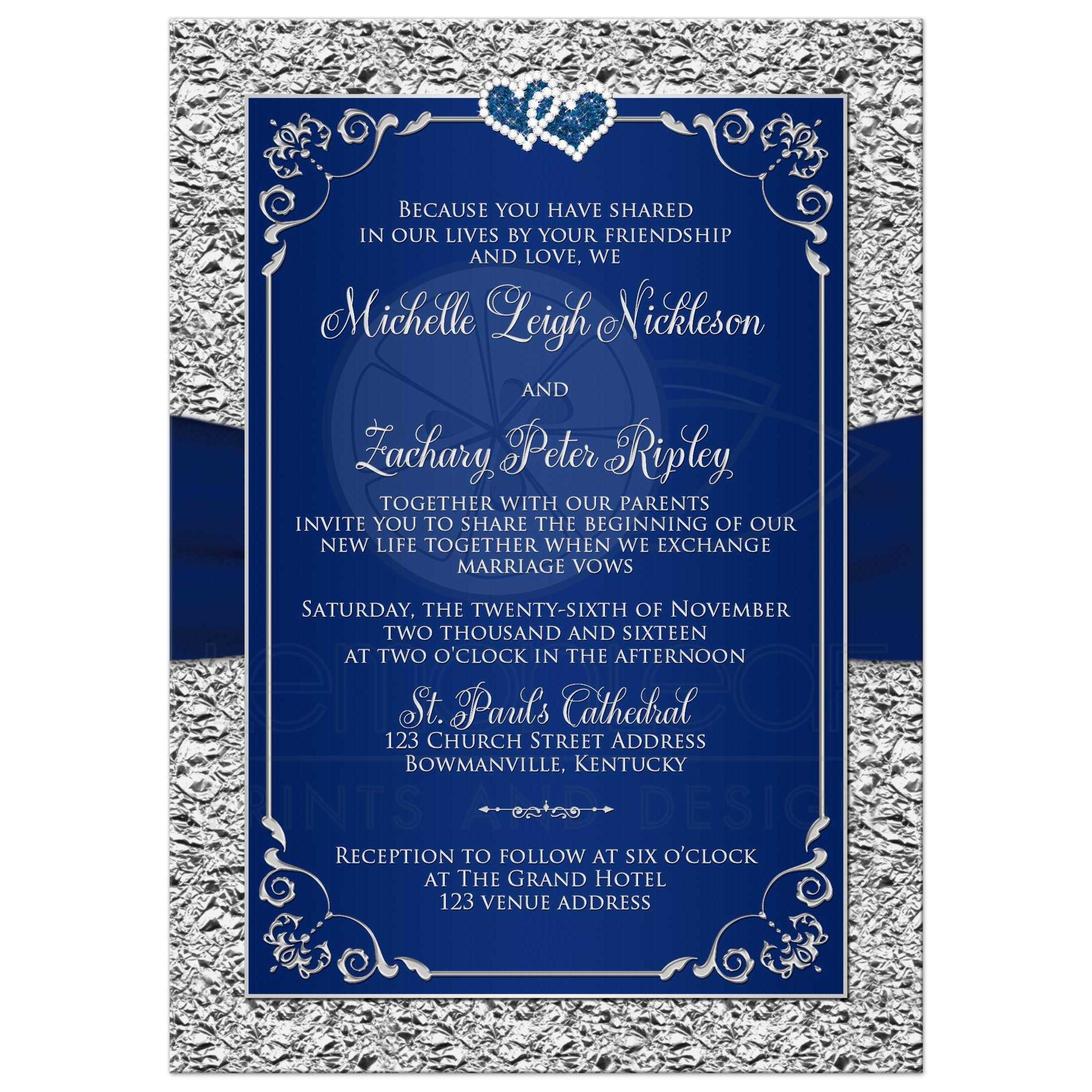 Wedding Invitation | Navy Blue, Silver | Joined Hearts | Floral