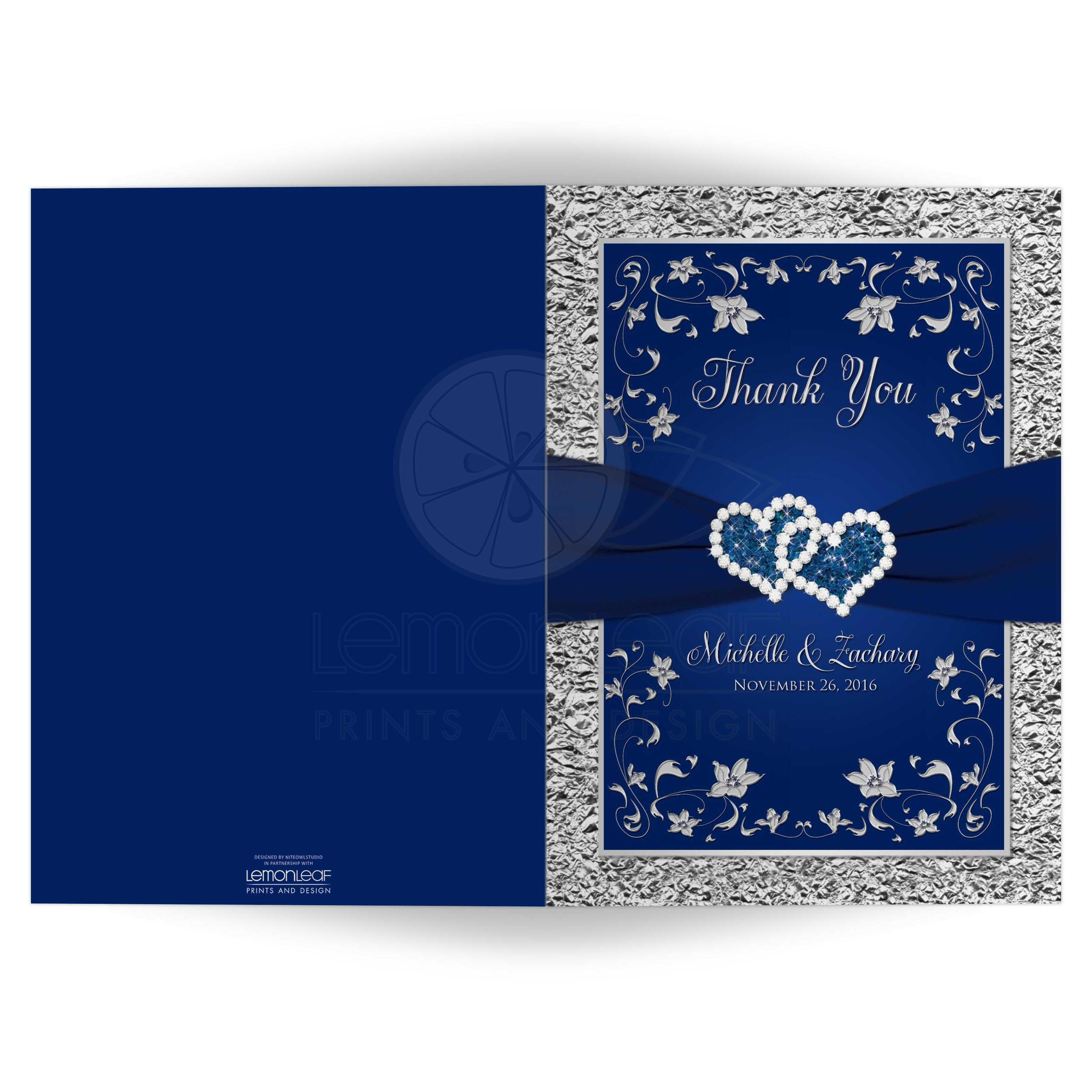 wedding photo thank you card a7 navy blue silver joined hearts