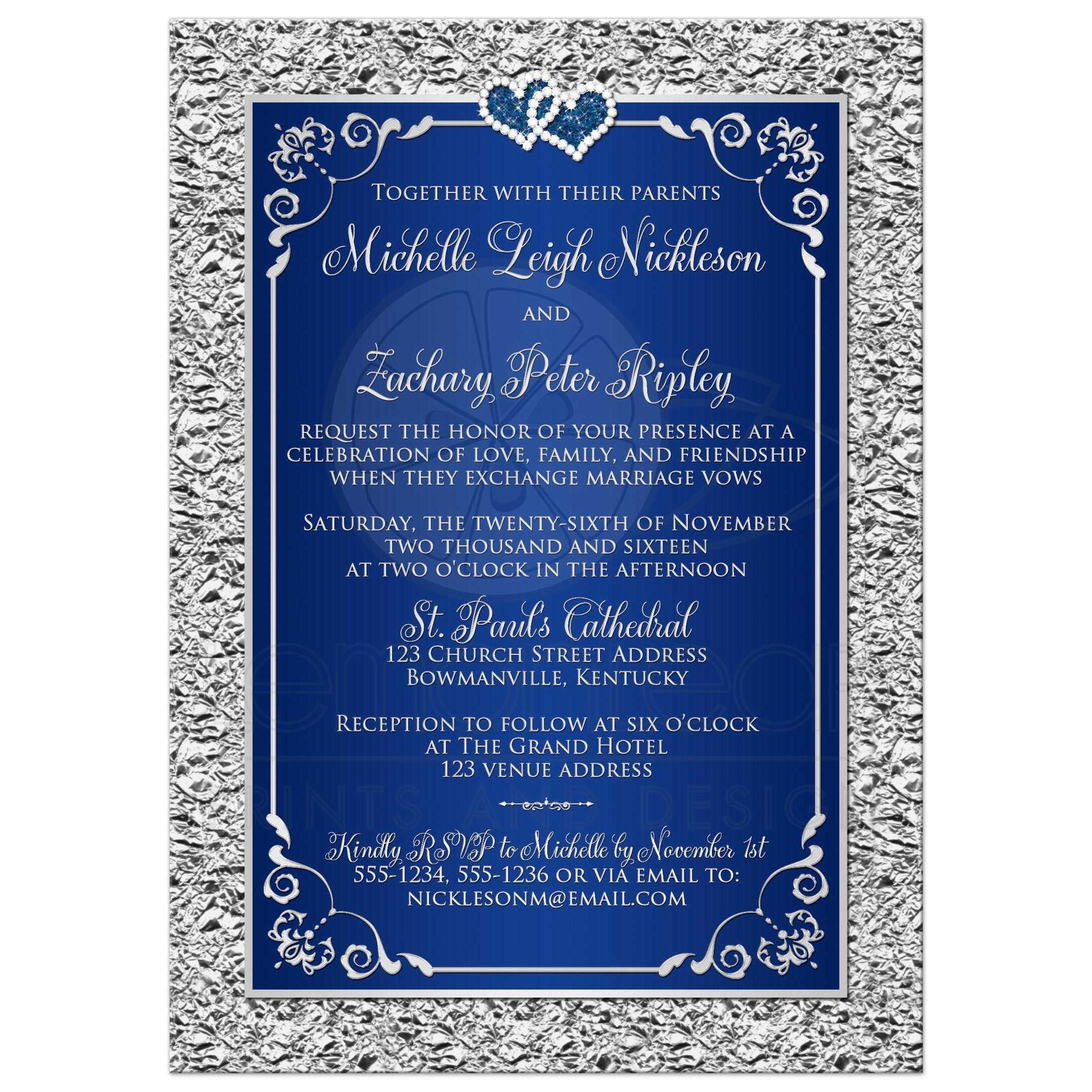 Wedding Invitation | Navy Blue, Silver Scrolls | Faux Silver Foil