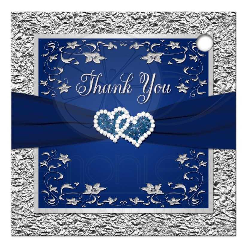 Wedding Favor Tag 3 Navy Blue Silver Faux Foil Floral Double