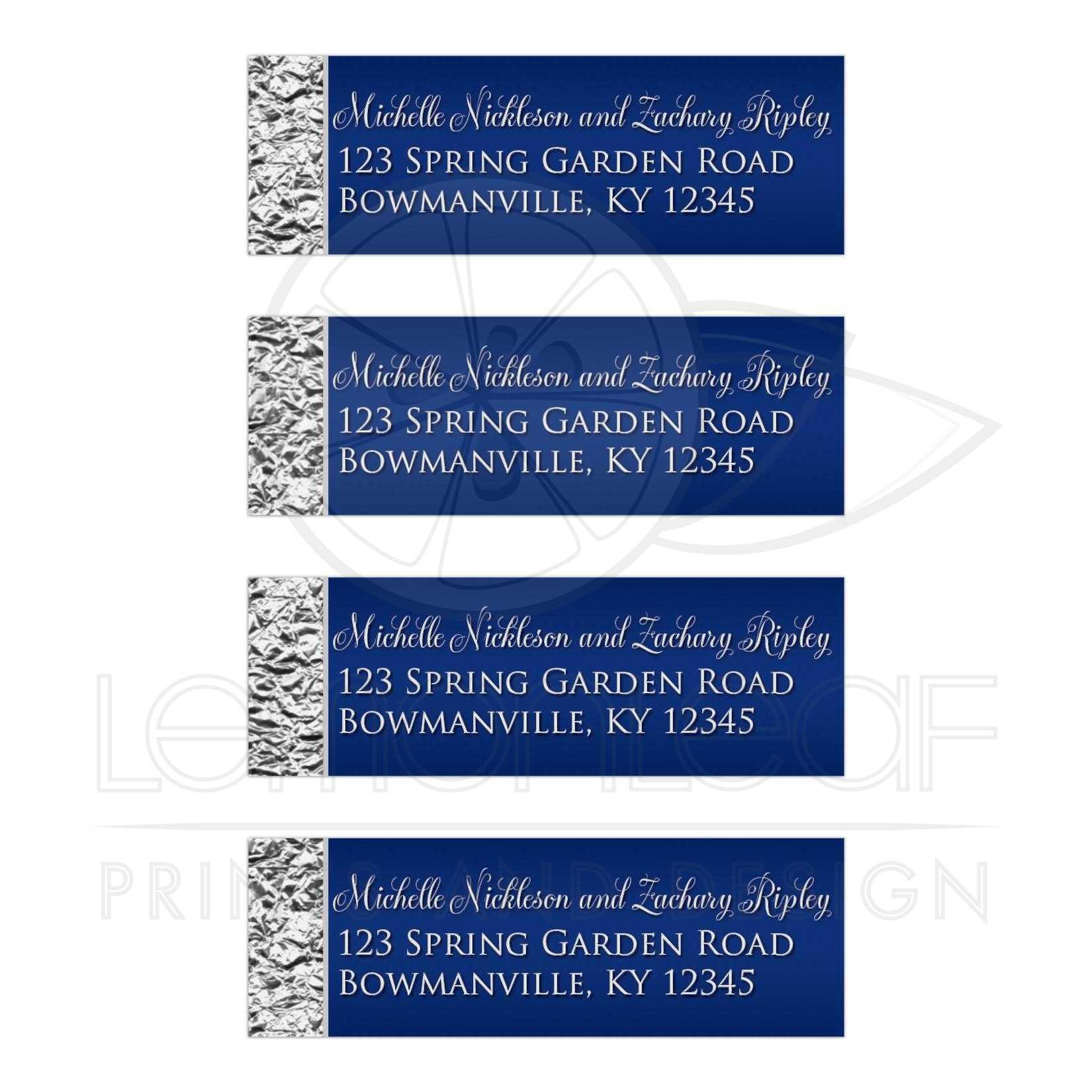 personalized address labels navy blue silver faux foil