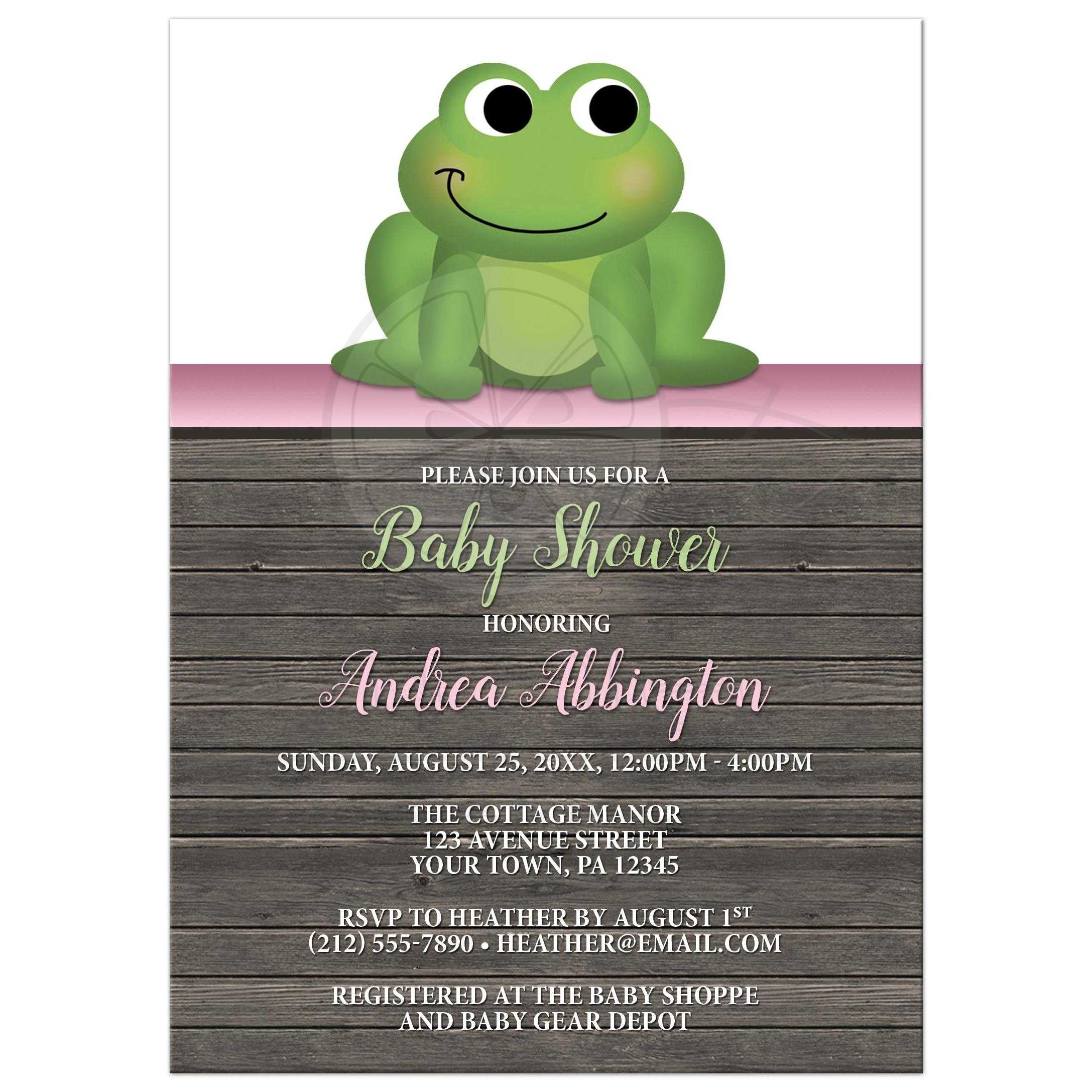 Baby shower invitations cute frog green pink rustic wood filmwisefo