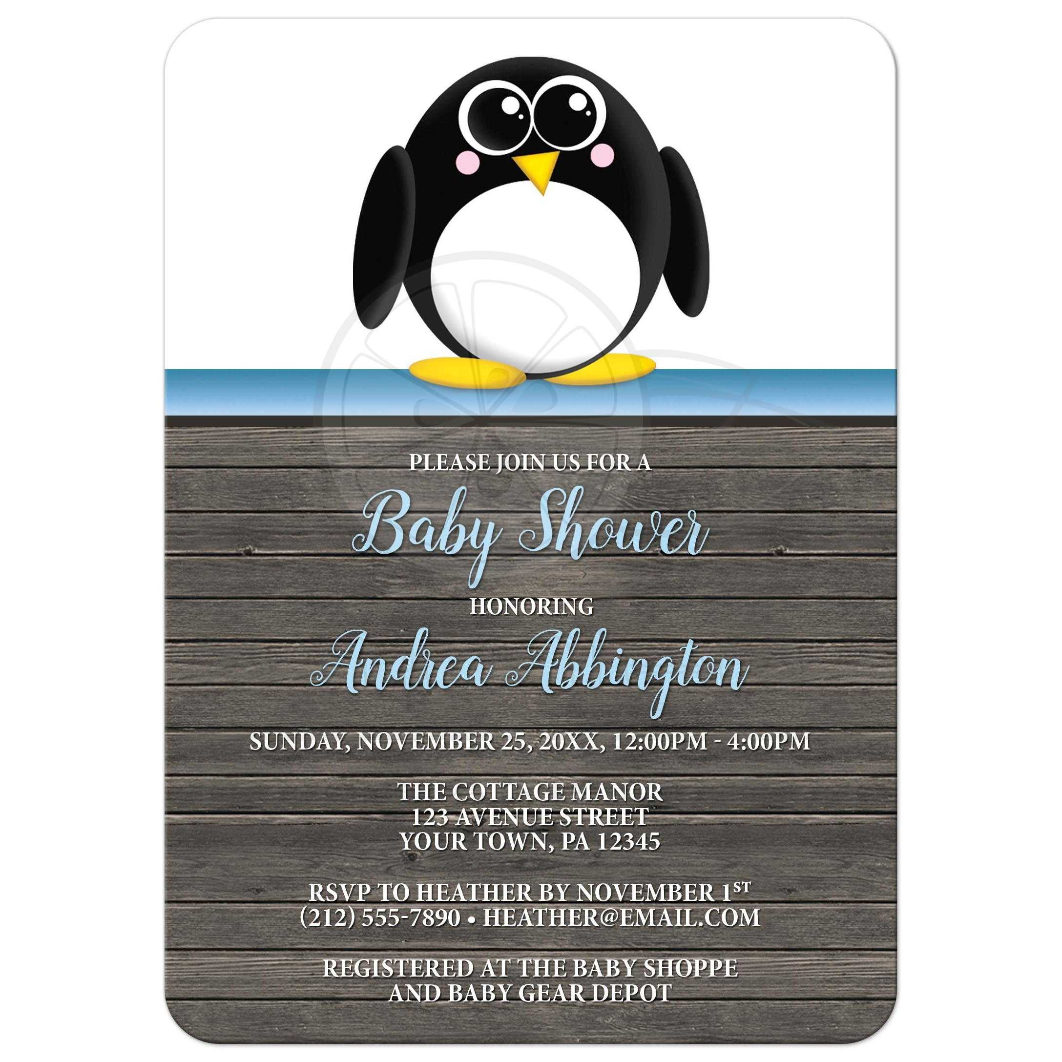 Baby Shower Invitations   Cute Penguin Blue Rustic Brown Wood
