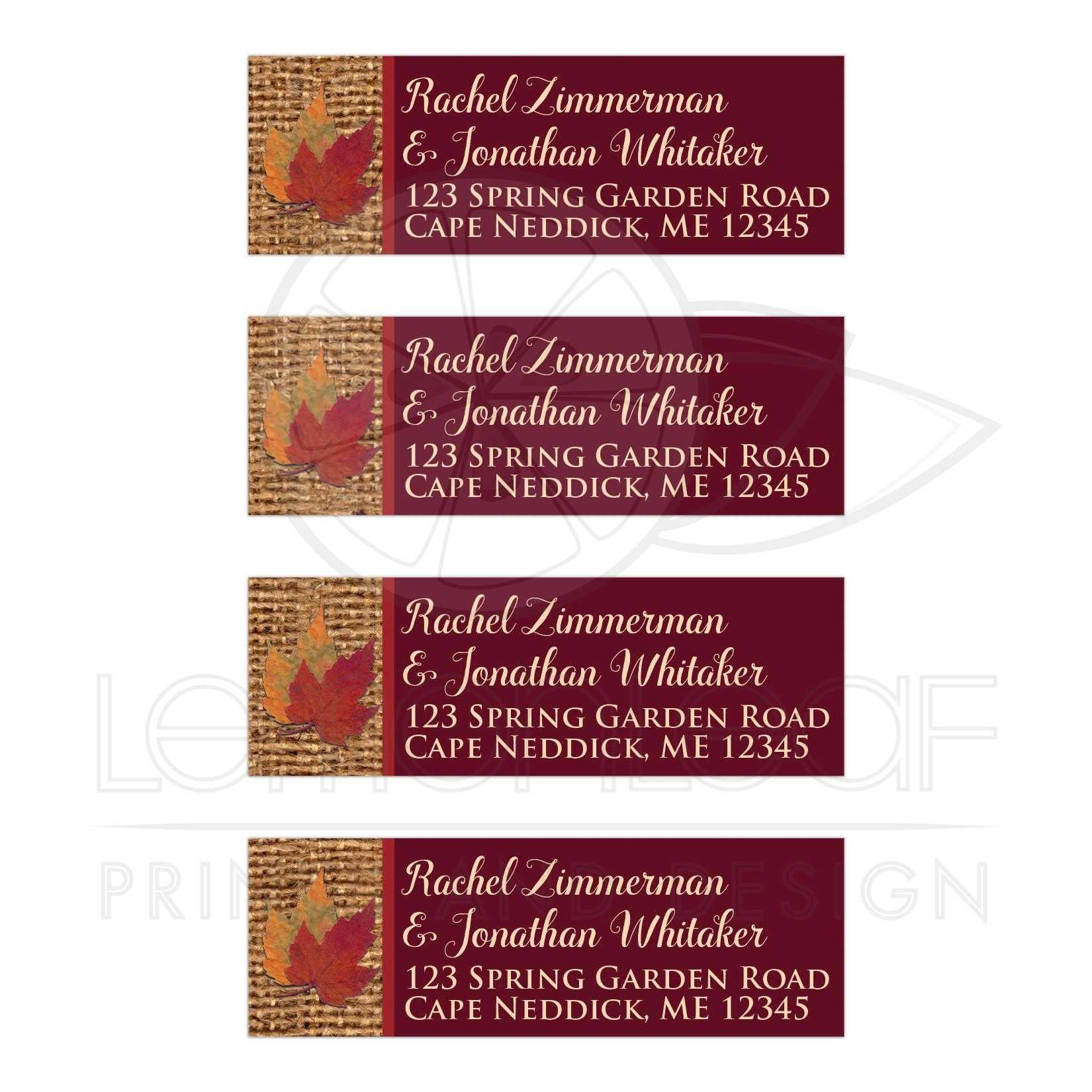 personalized autumn wedding return address labels dried leaves