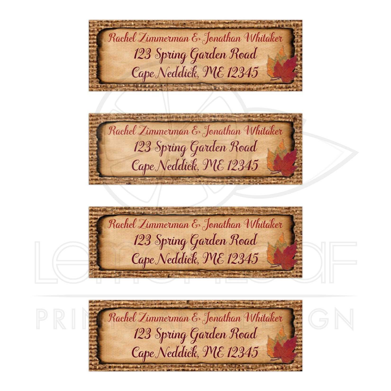 Personalized Return Address Mailing Labels With Burlap Faux Aged And Burnt Edge Paper