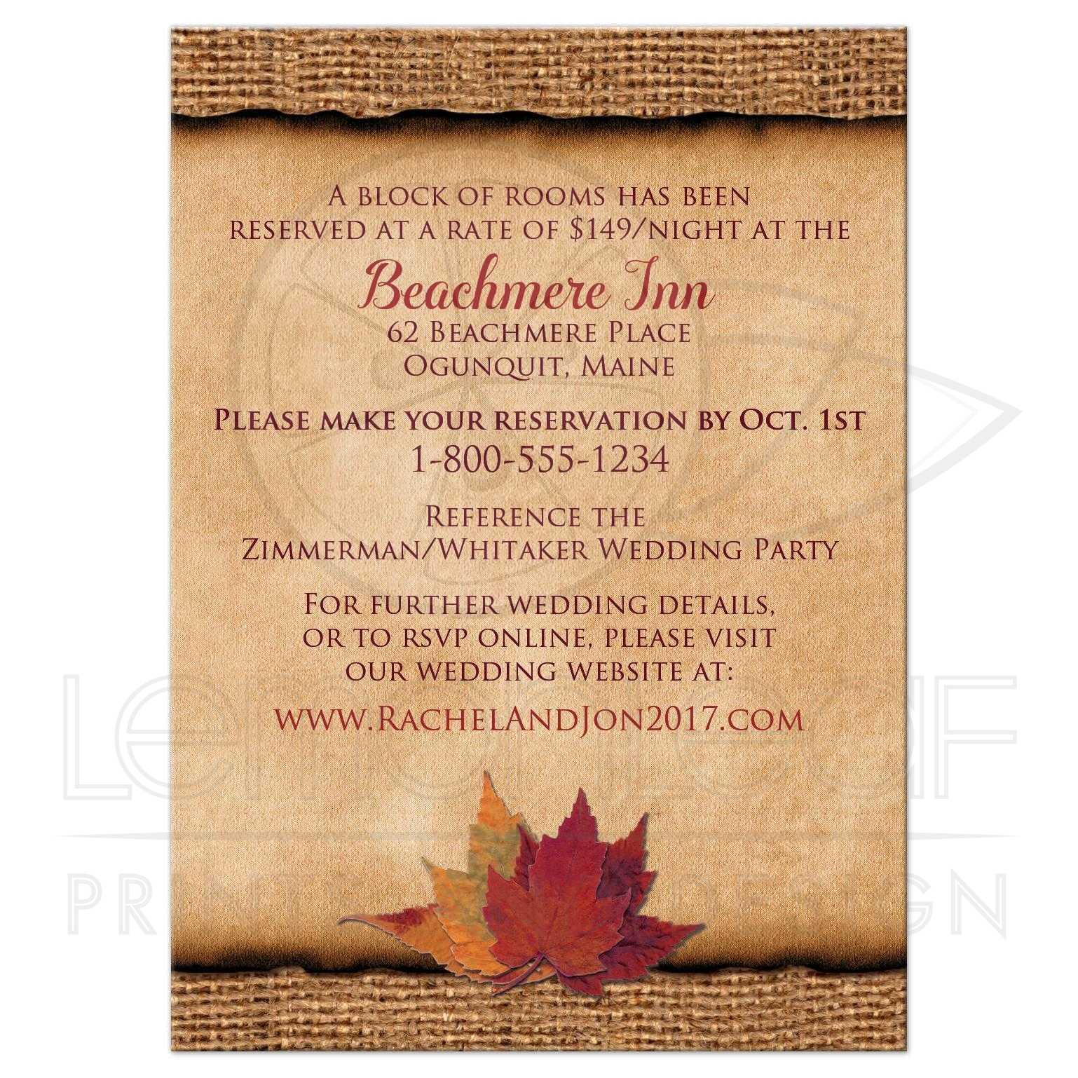 Wedding Accommodations Card