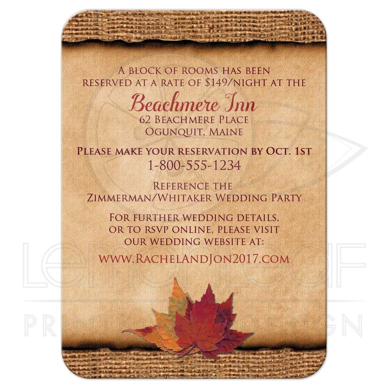 06d8b551662 Wedding Accommodations Card | Faux Burlap, PRINTED Wine Ribbon | Autumn  Leaves