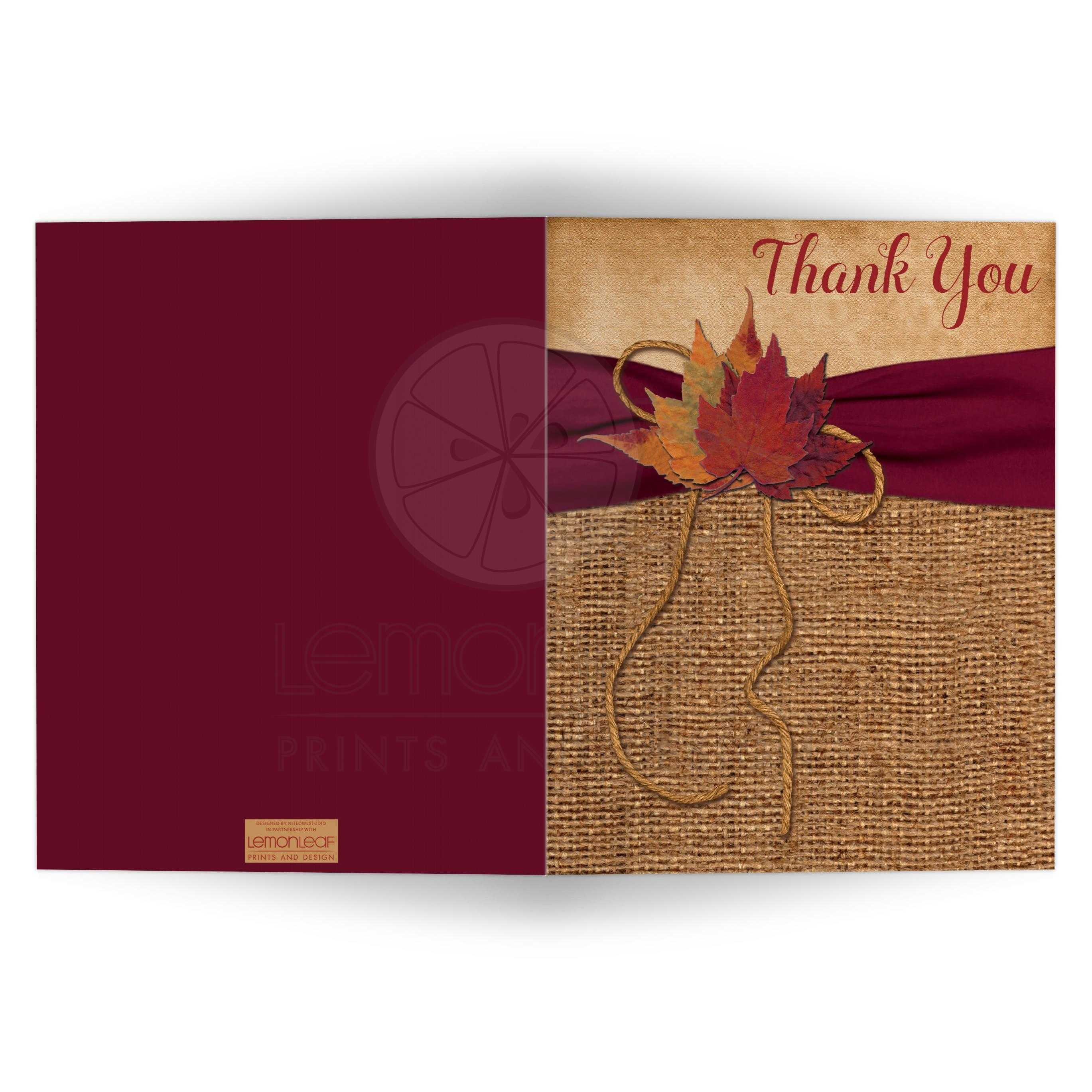Rustic Country Wedding Thank You Card Blank Printed Wine Ribbon