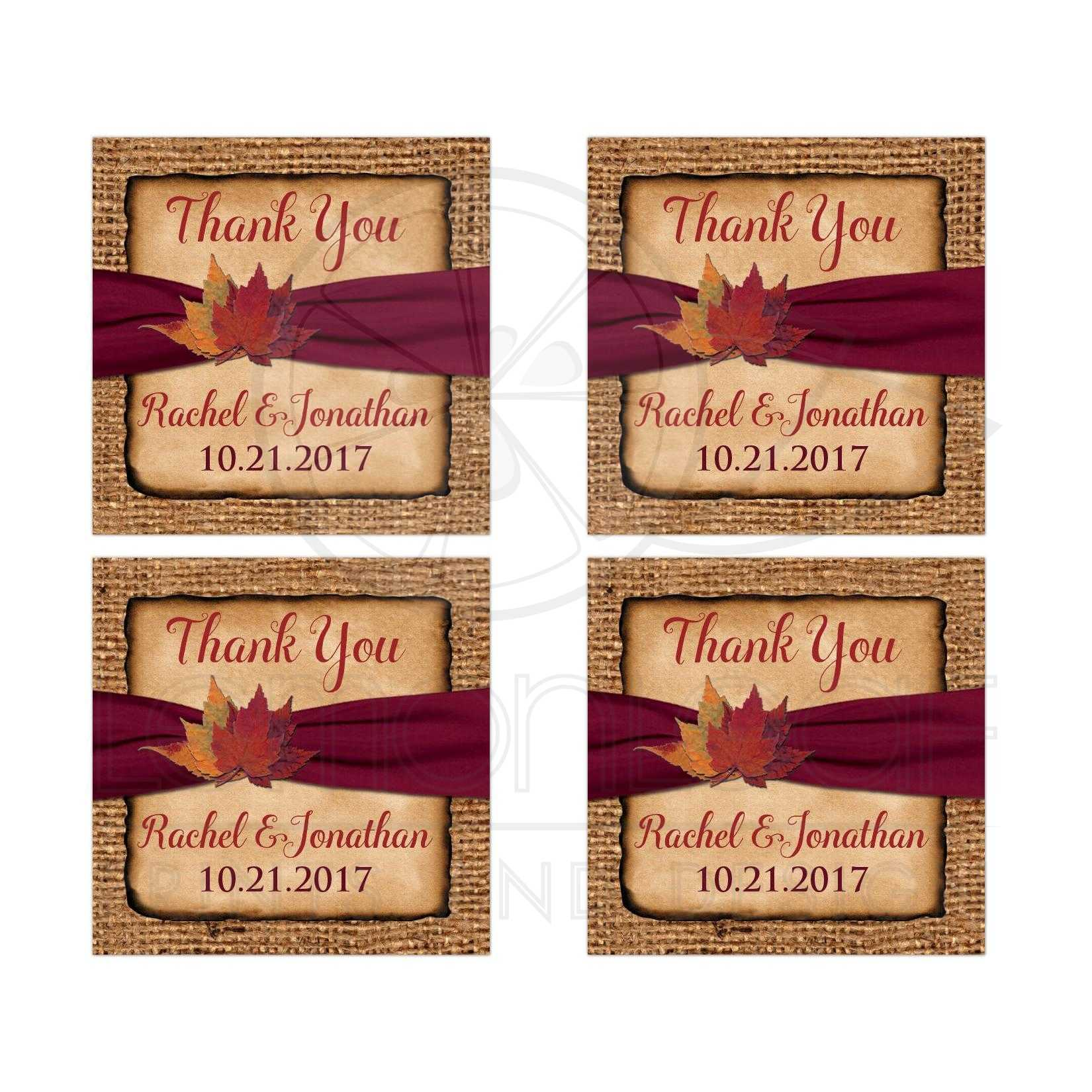 Personalized 2 Square Rustic Burlap Wedding Favor Stickers With A Burgundy Colored Ribbon
