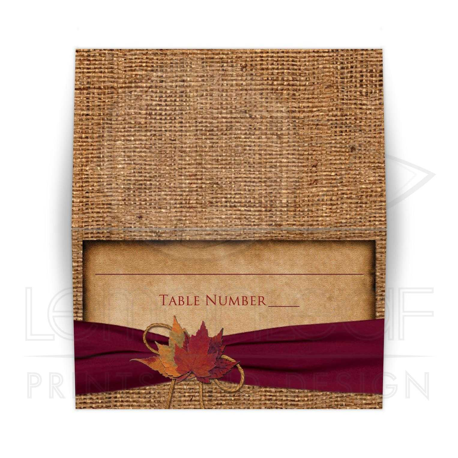 06c4c37461b Rustic Folded Wedding Place Card or Escort Card | Autumn Leaves, Faux  Burlap | PRINTED Burgundy Wine Ribbon