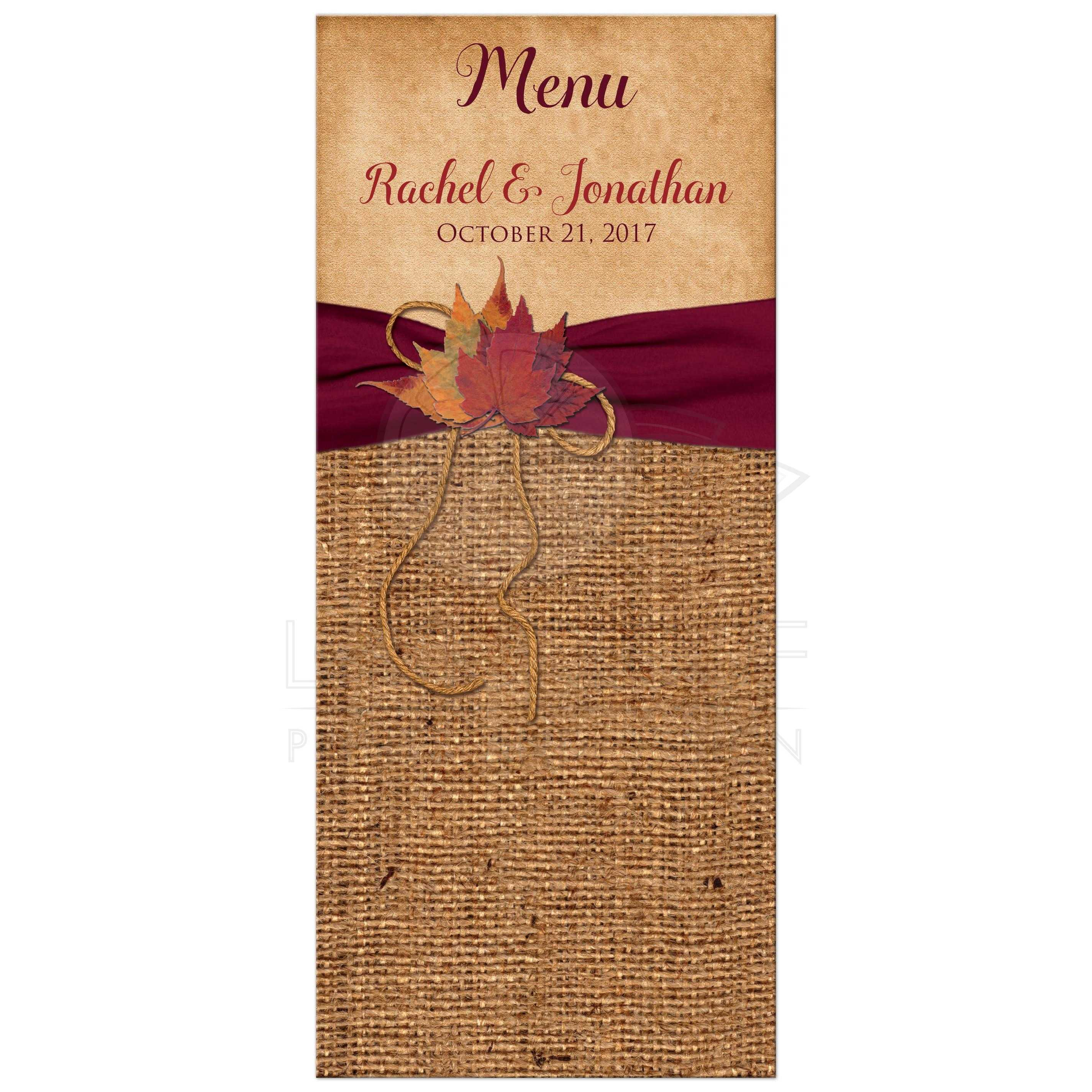 e6276595326 Rustic Wedding Menu Card | Autumn Leaves, Faux Burlap | PRINTED Wine Ribbon
