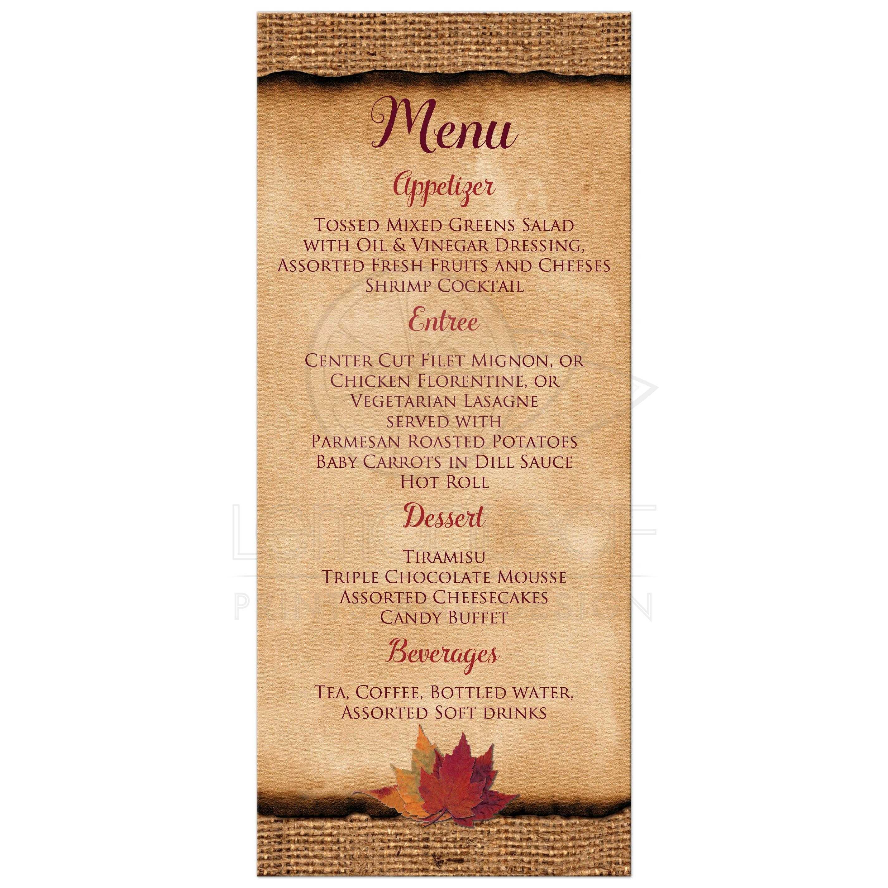Rustic Burlap Wedding Reception Menu Card With A Burgundy Wine Ribbon Gold Tone Twine