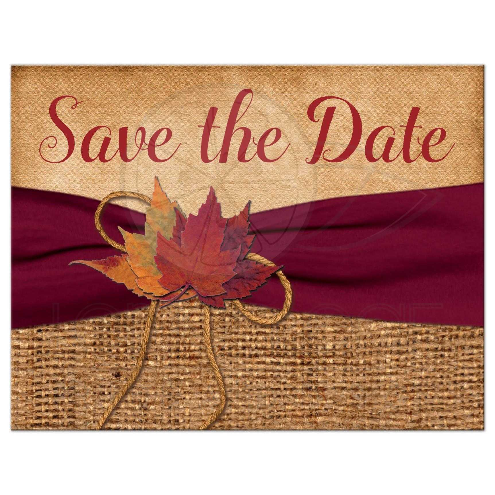 bcba4fb8e1b Rustic Wedding Save the Date Postcard | PRINTED Wine Ribbon | Autumn  Leaves, Faux Burlap