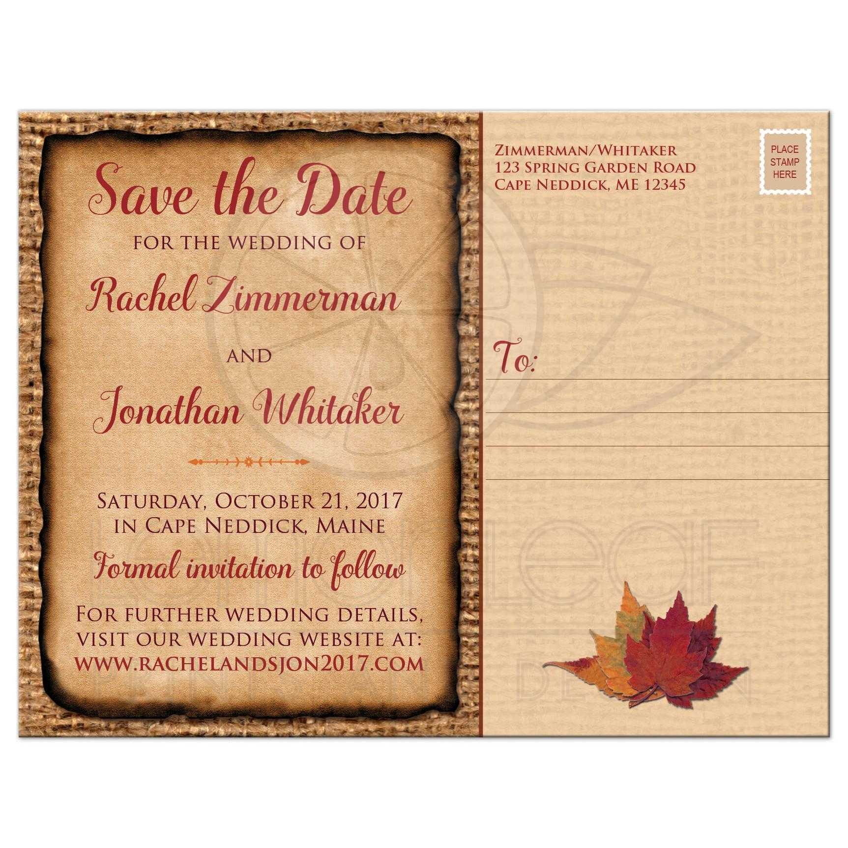 Rustic Wedding Save the Date Postcard – Wedding Save the Date Card