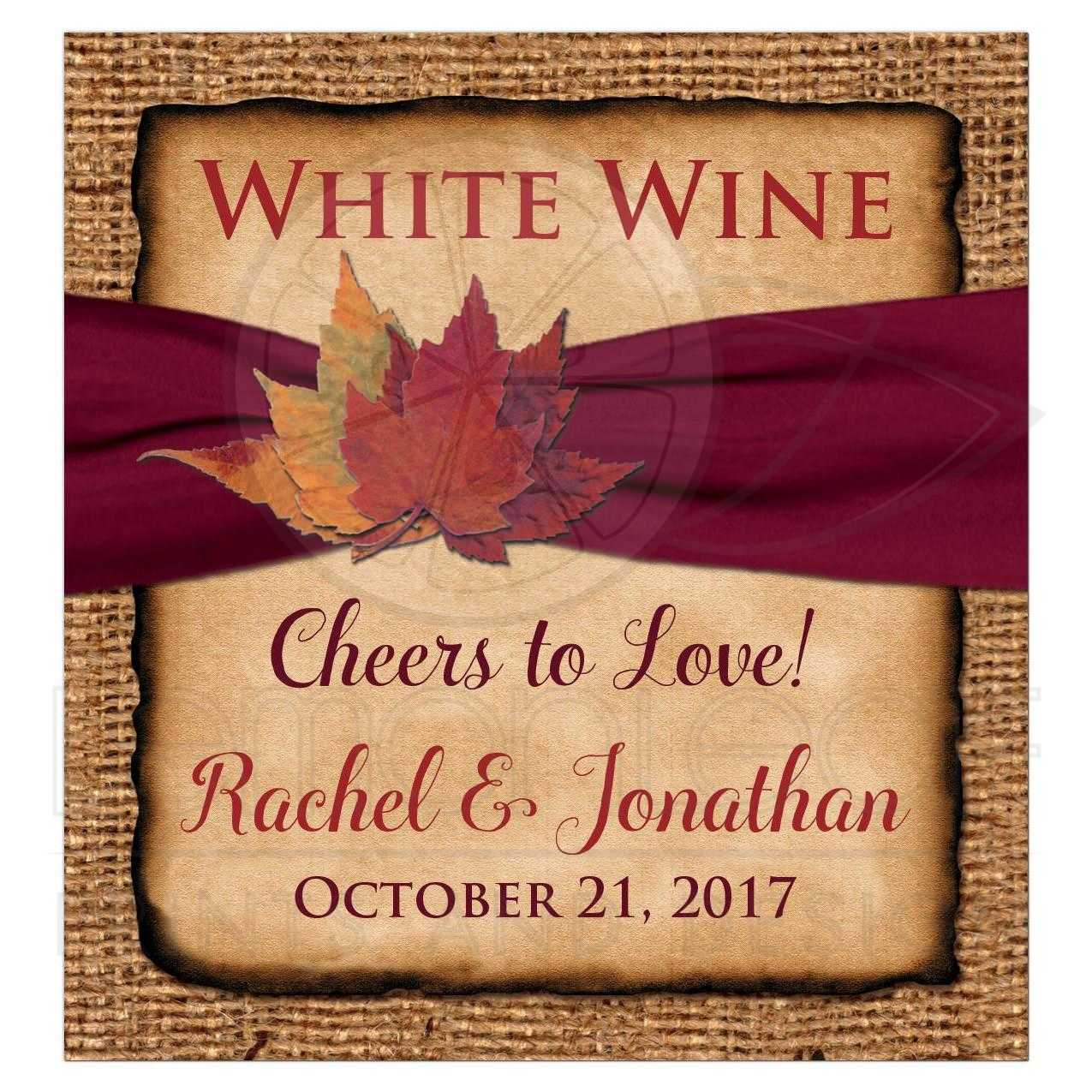 rustic burlap wedding wine label beverage label bottle label or wedding favor sticker with