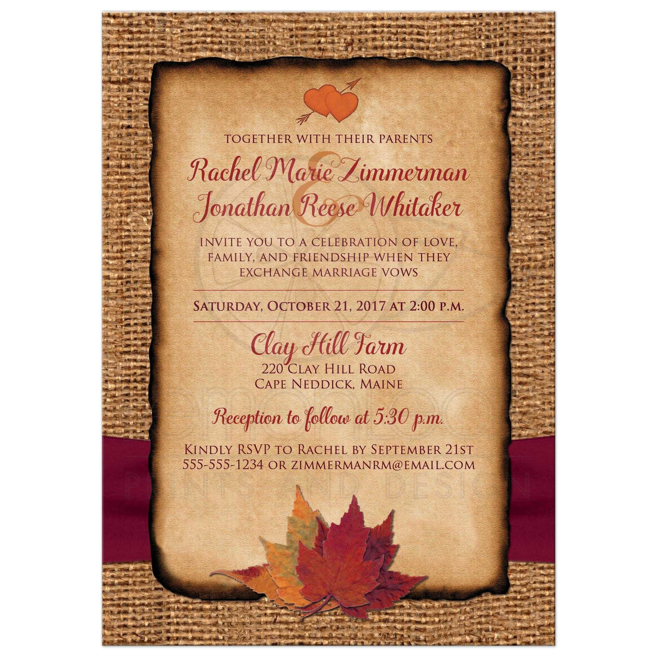 Fall In Love Photo Wedding Invite Faux Burlap Printed Wine Ribbon Autumn Leaves