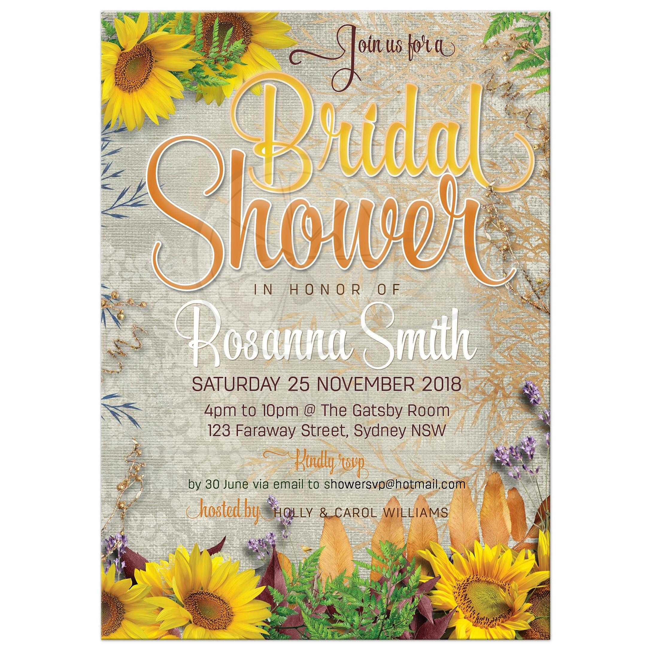 Vintage summer sunflowers bridal shower invitation intage summer sunflowers bridal shower filmwisefo Images