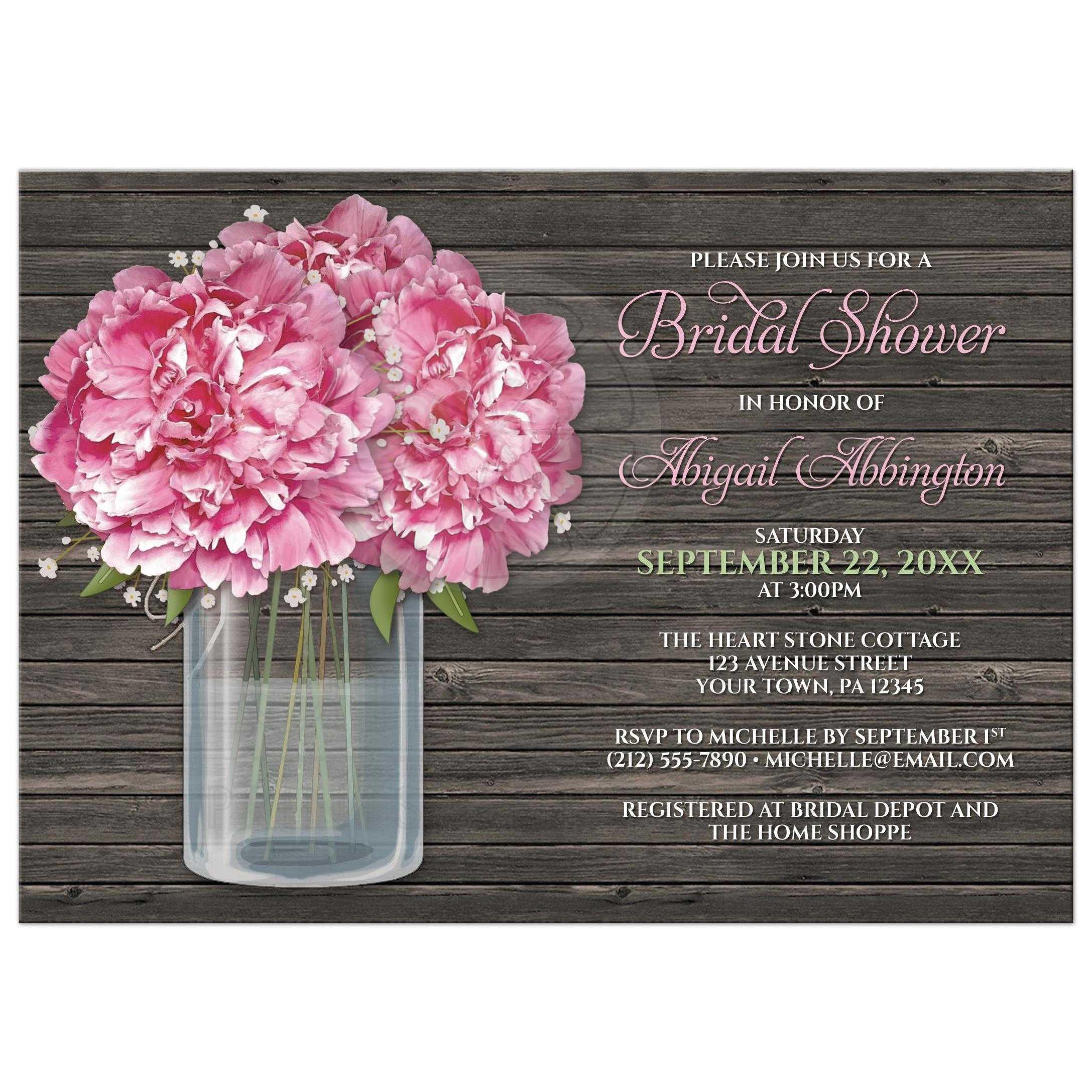 bridal shower invitations rustic pink peony mason jar wood