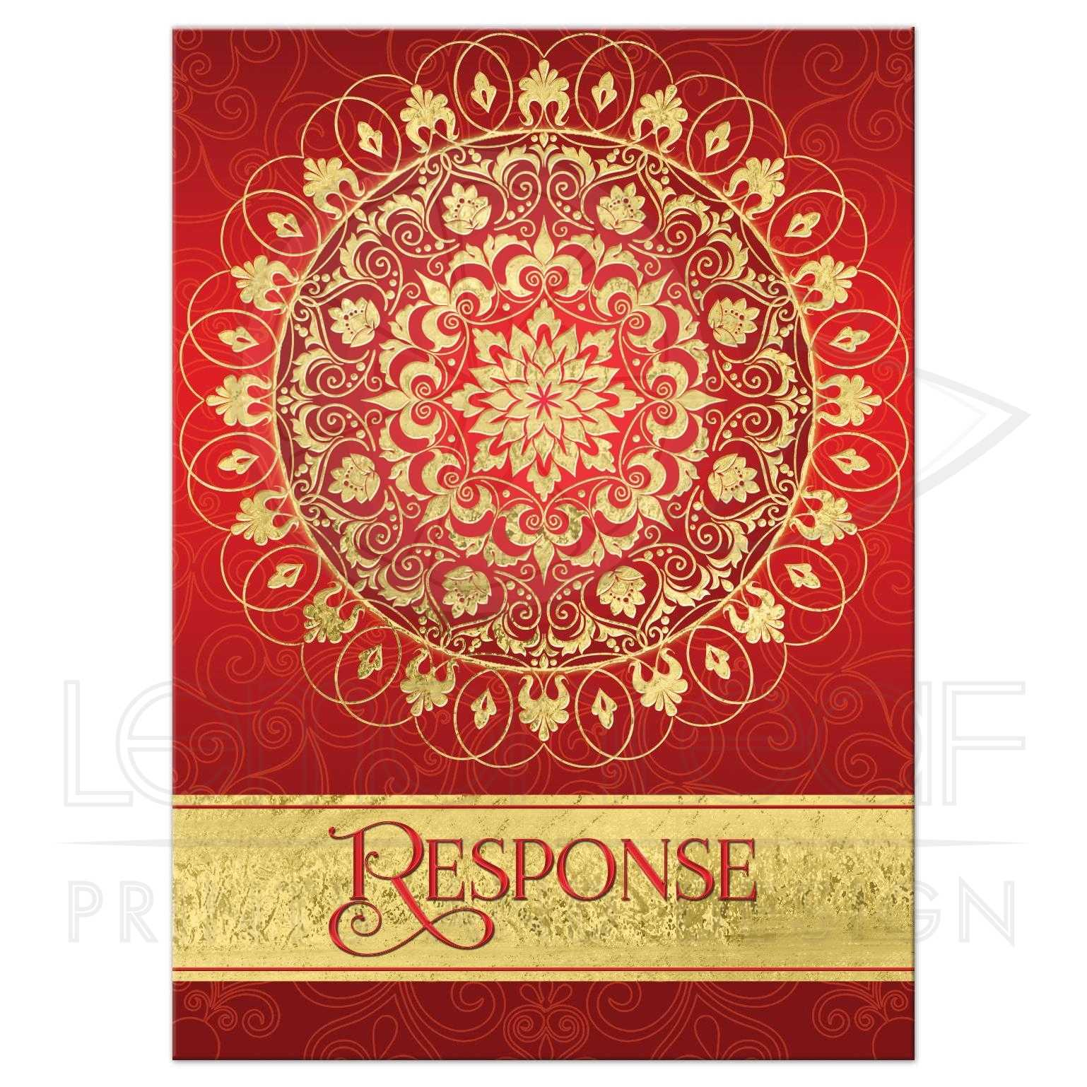 Exotic Far East Rich Red Wedding Response Card | Ornate FAUX Gold ...