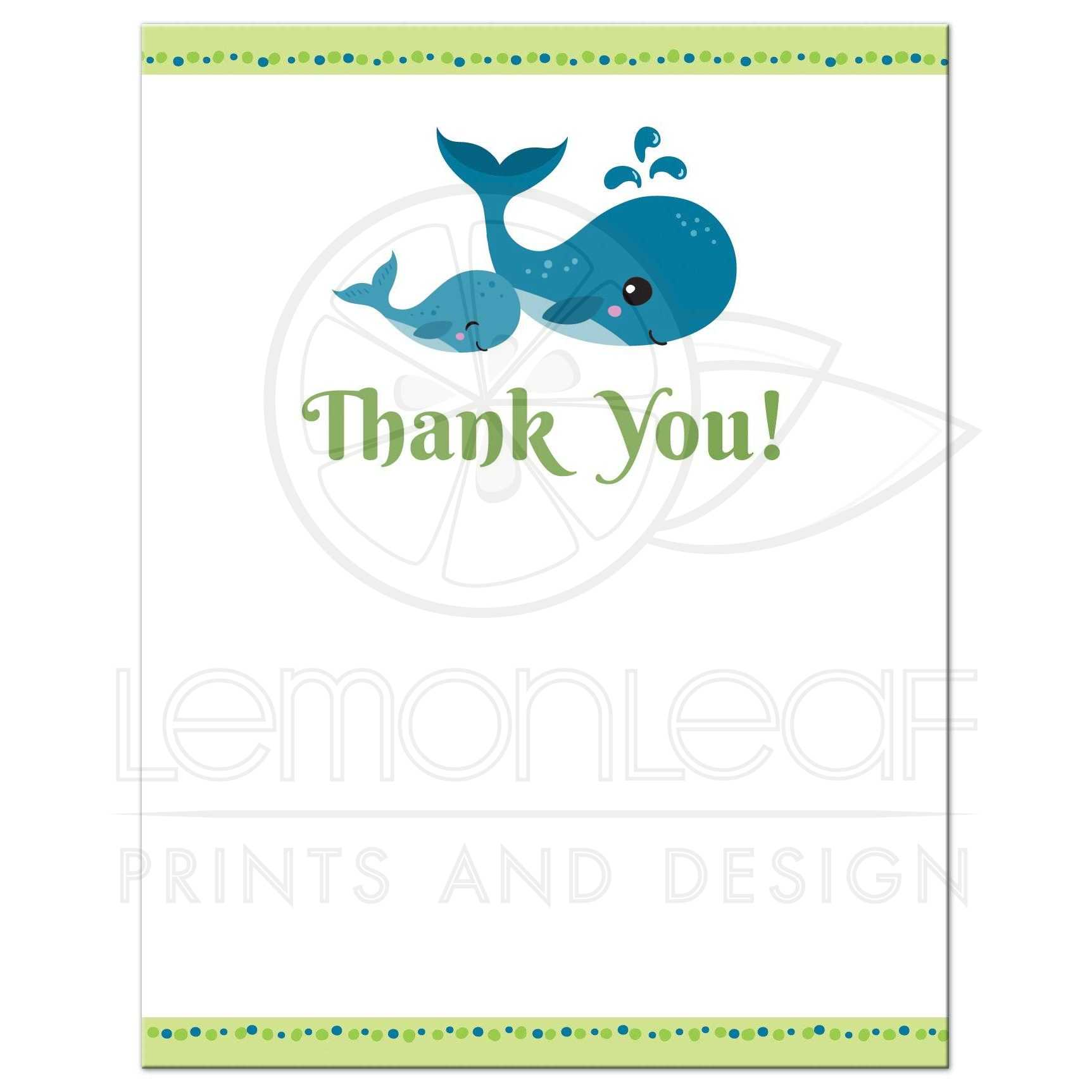 Whale Baby Shower Thank You Card Lime Green And Blue Flat Note
