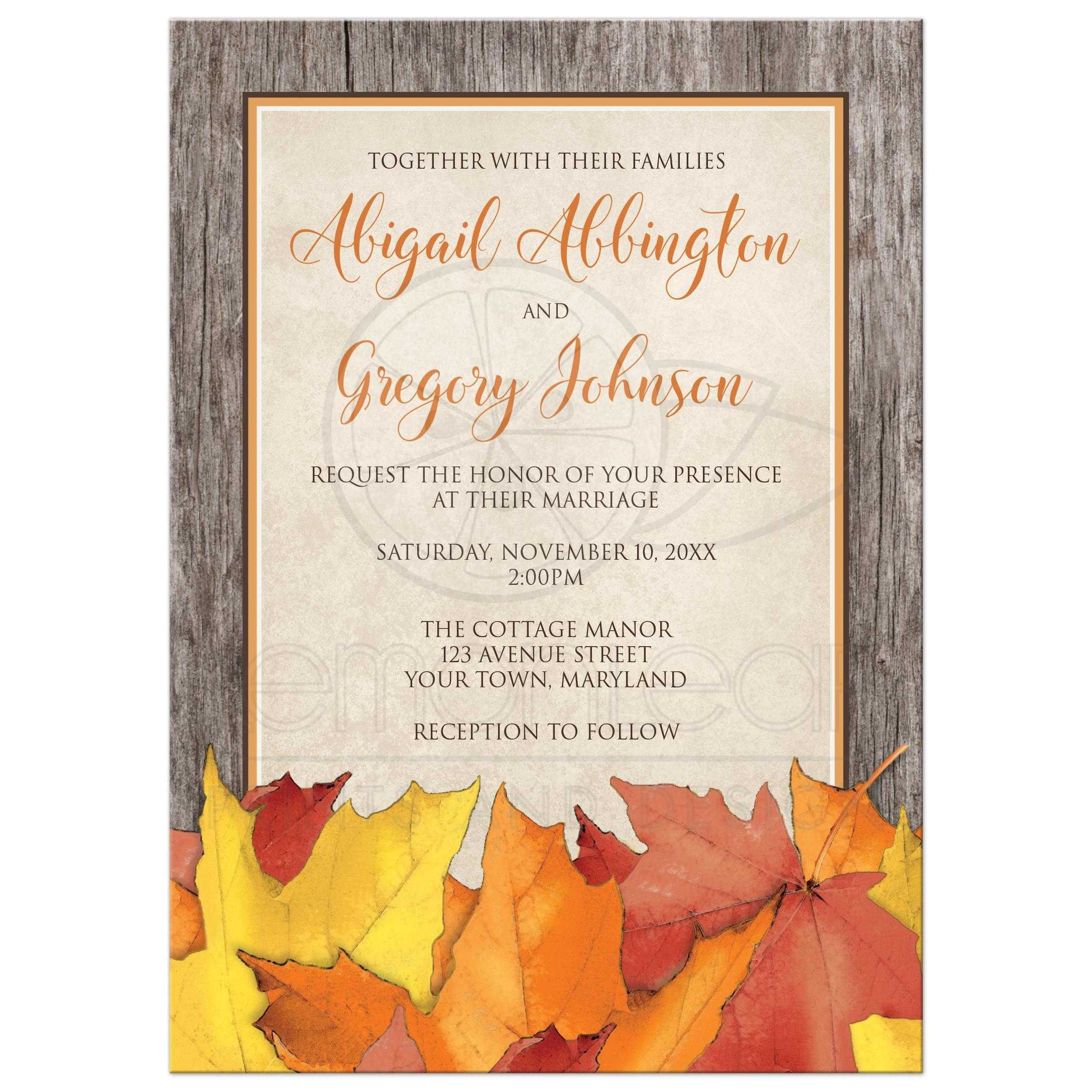 Wedding Invitations - Fall Rustic Wood and Leaves