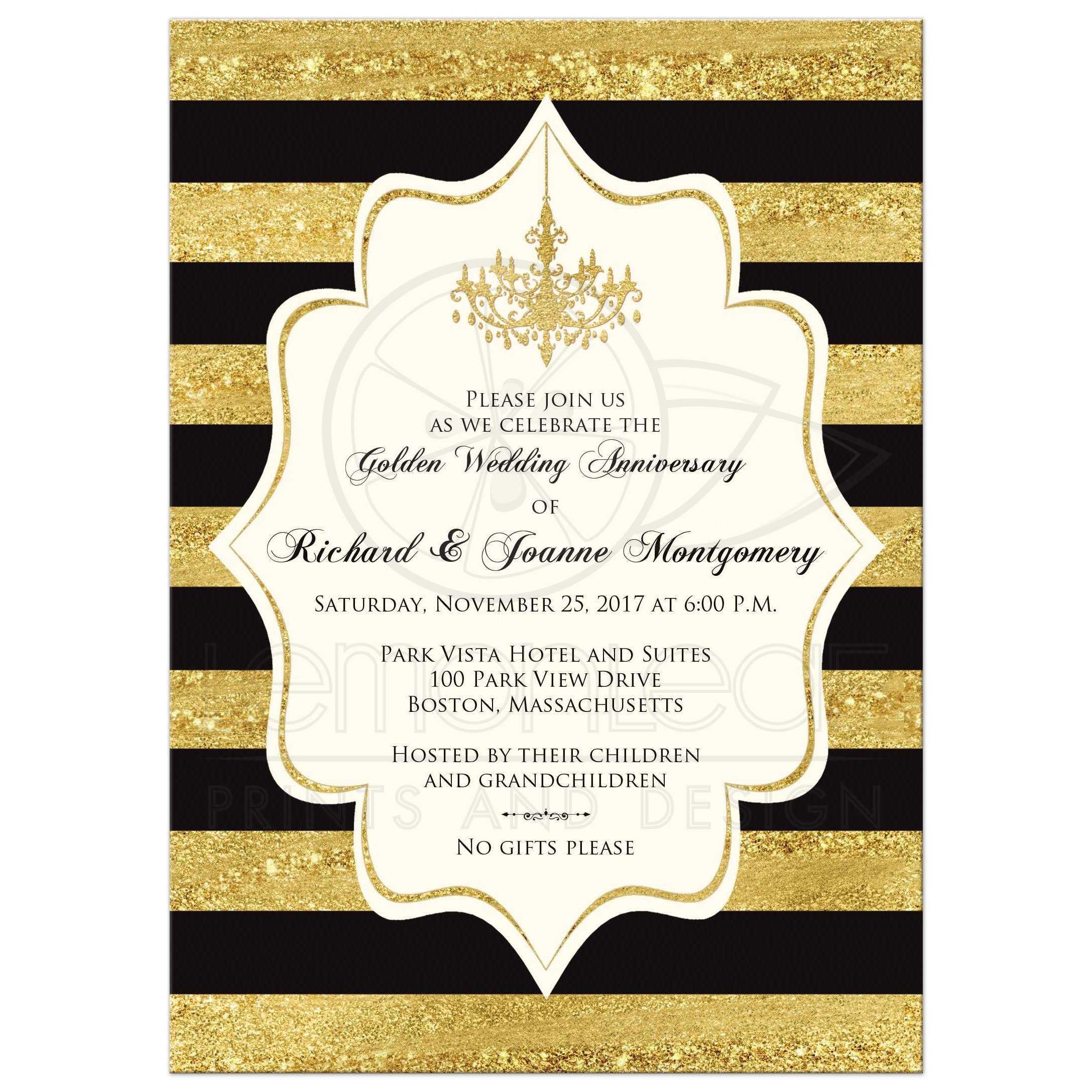 Golden Anniversary Invitation Black Faux Gold Foil Ivory Stripes