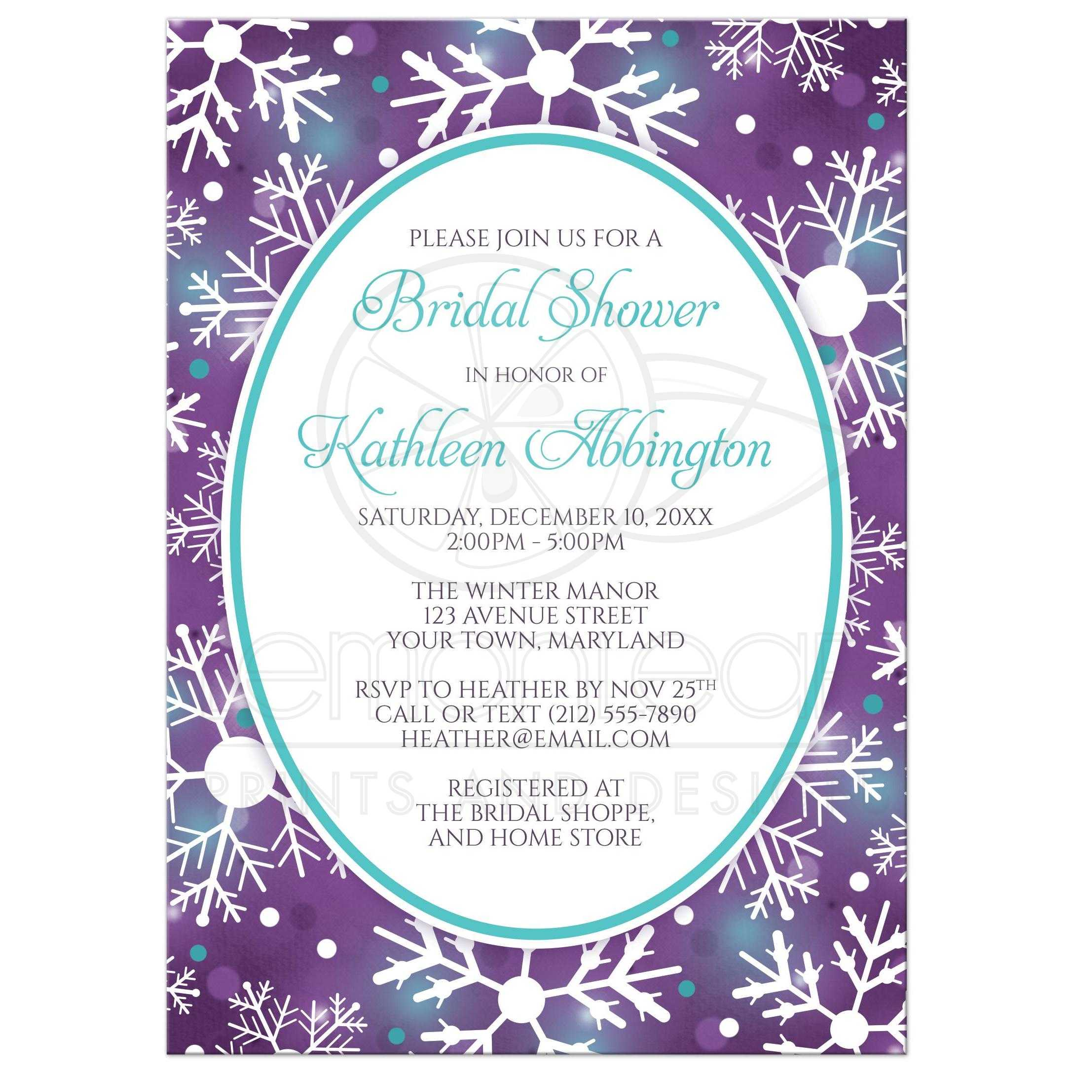 bridal shower invitations winter bokeh purple teal snowflake
