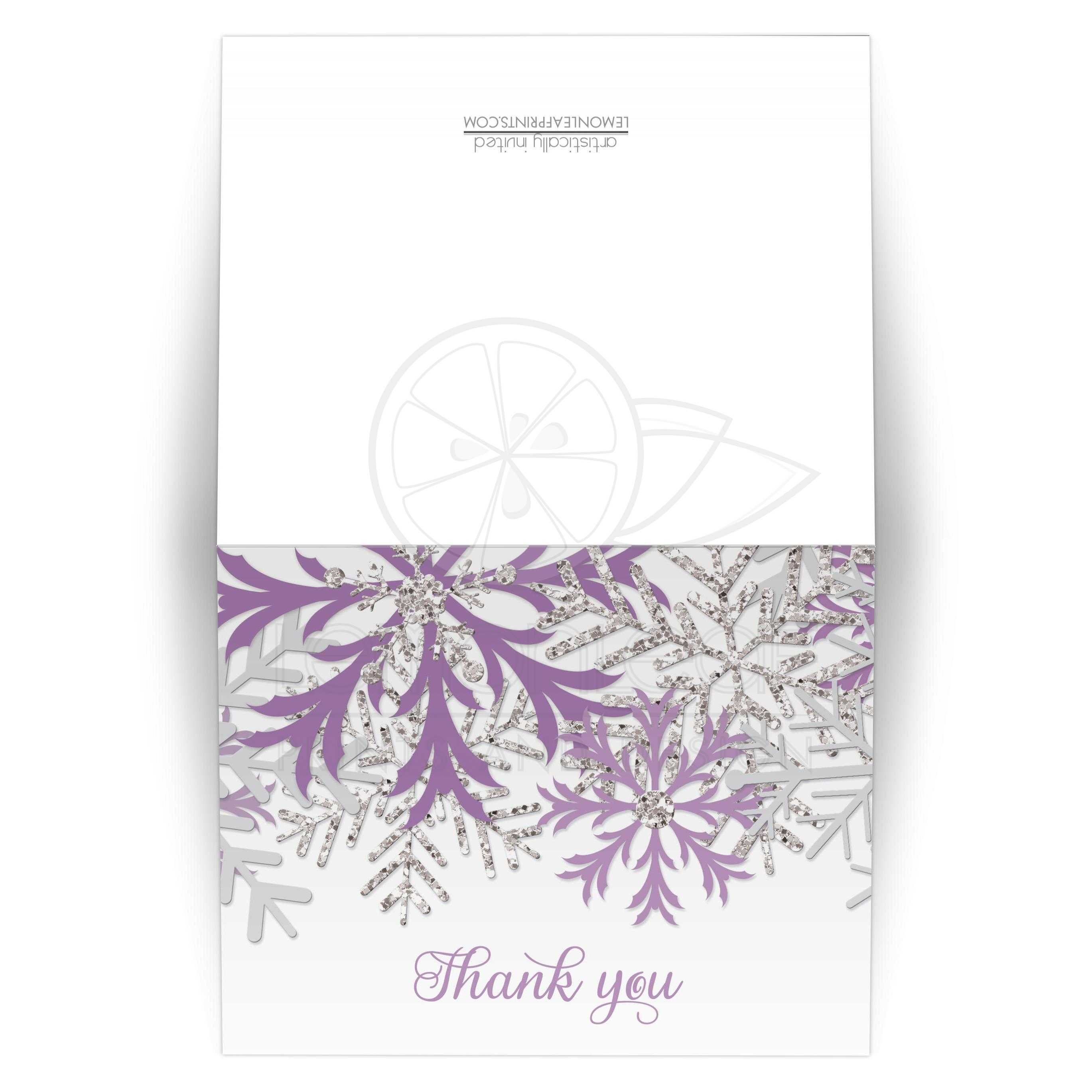 Thank You Cards Winter Snowflake Purple Silver