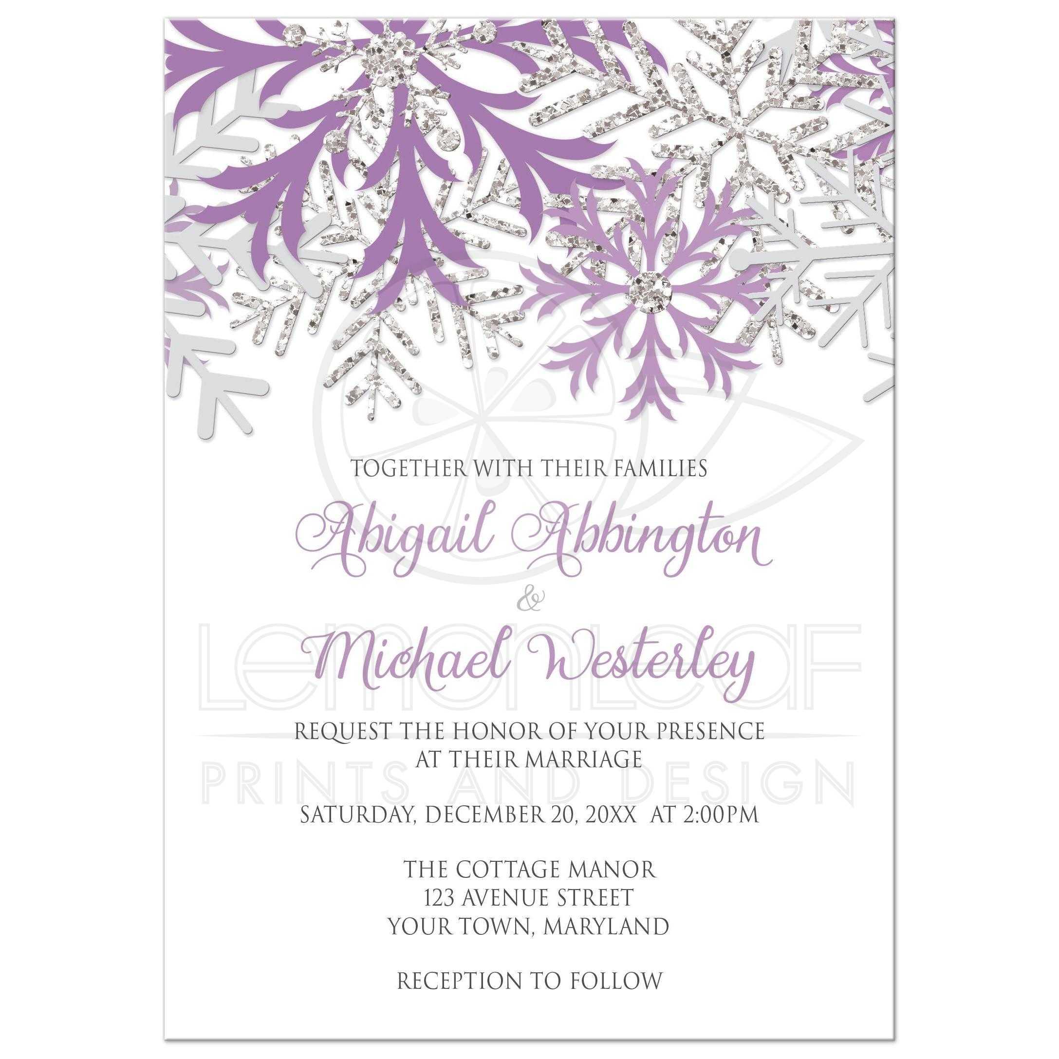 Wedding Invitations   Winter Snowflake Purple Silver