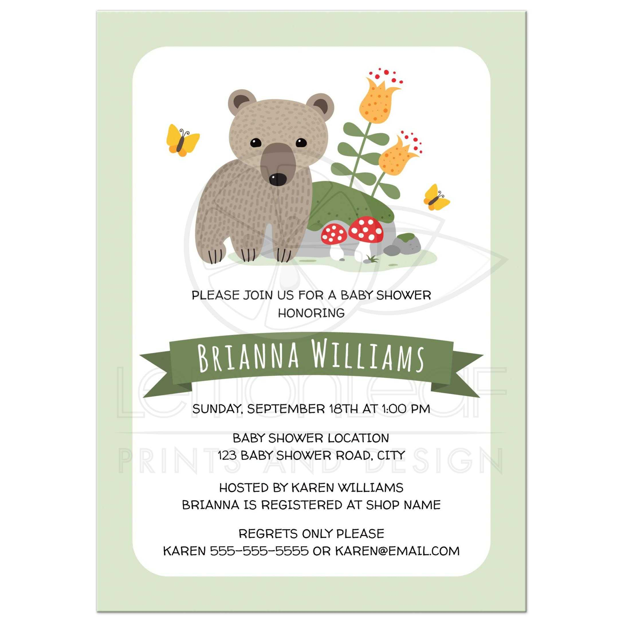 Woodland baby shower invitations with bear cub toadstools flowers