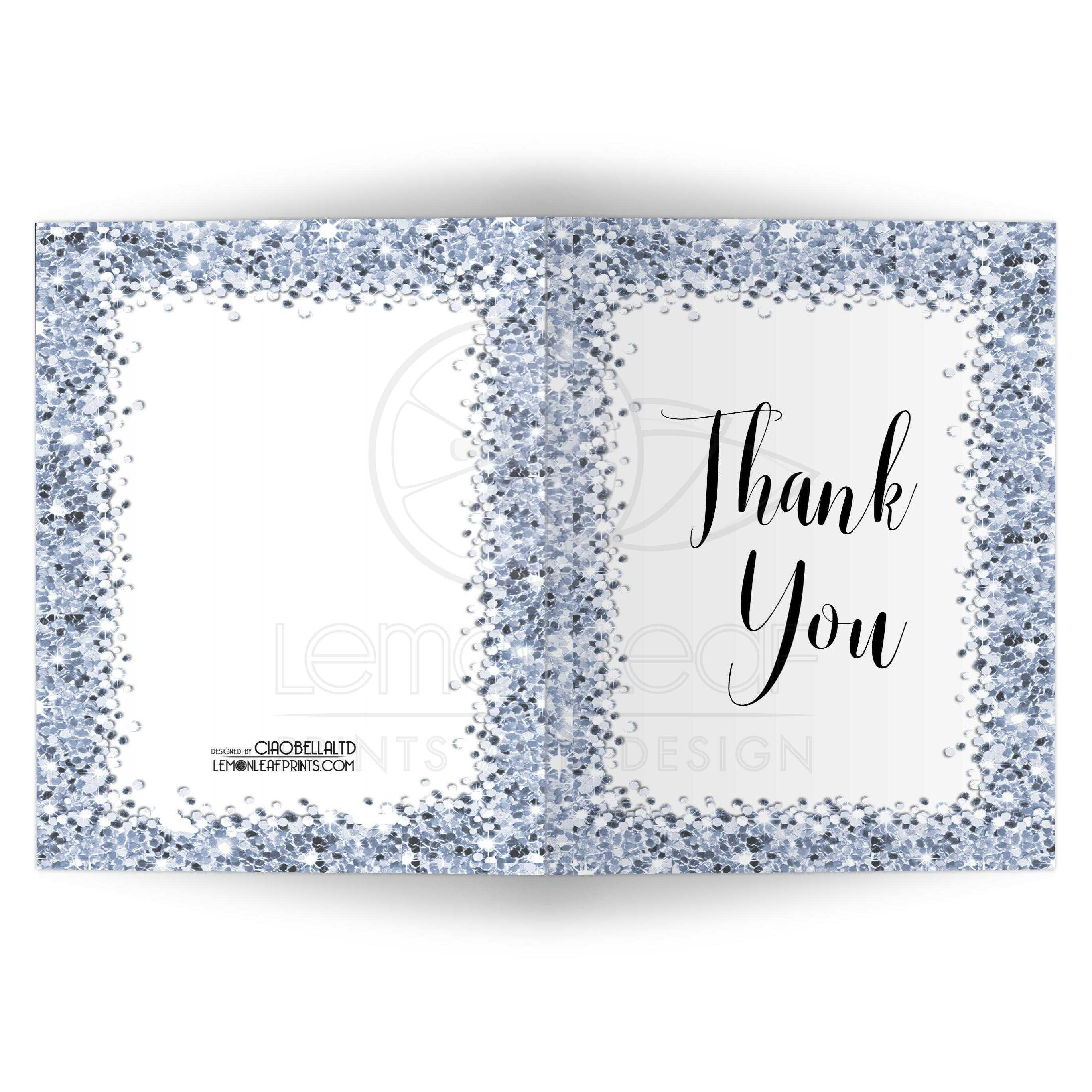 Sparkly Blue Confetti Thank You Card