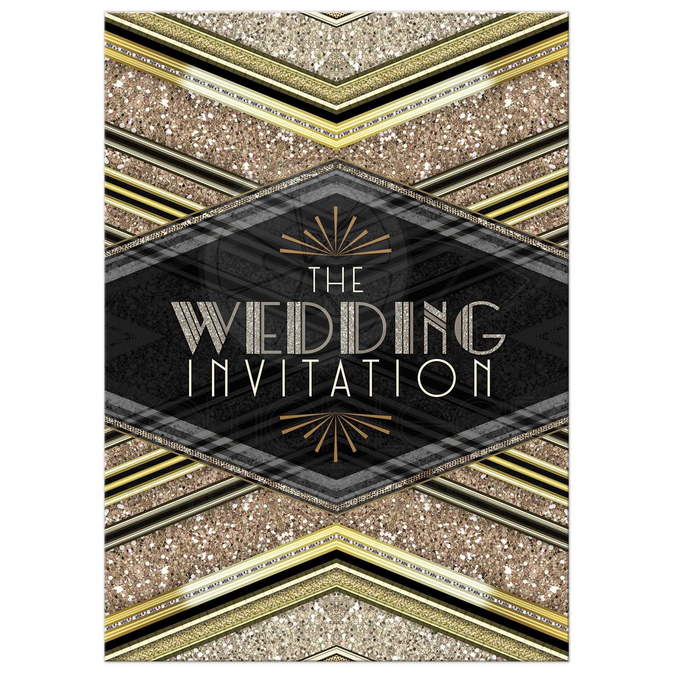 art deco wedding invitation black gold glitter v2