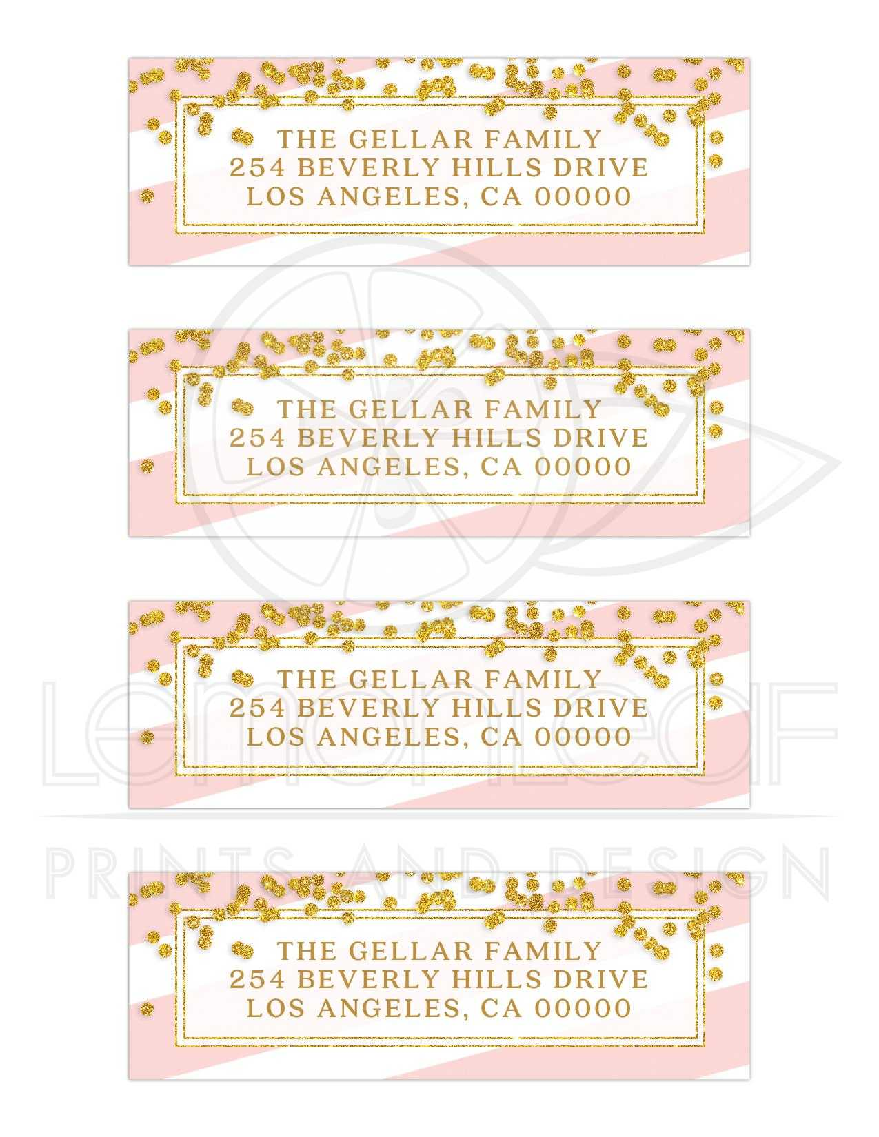 bat mitzvah return address labels pink stripes gold confetti