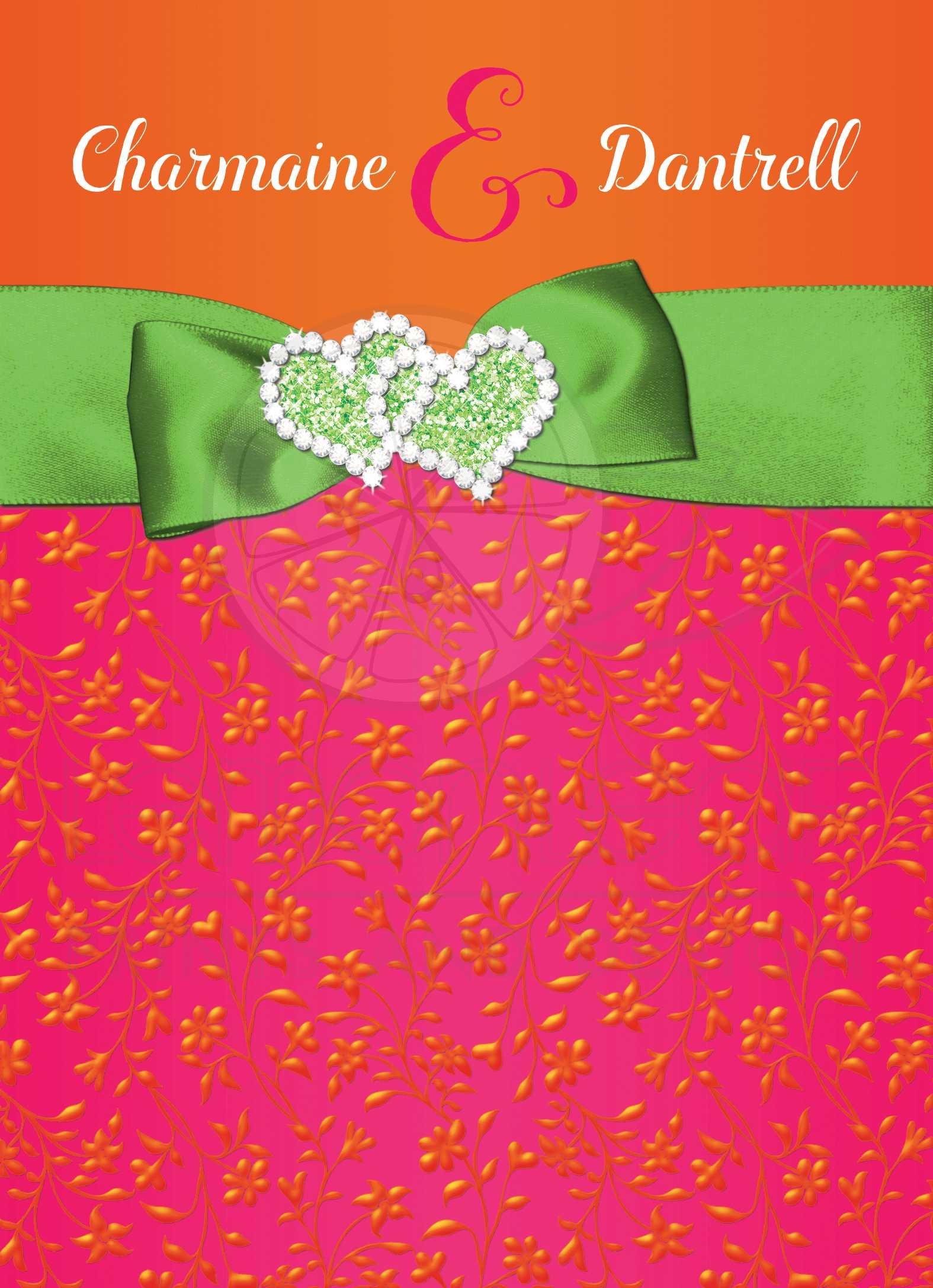 Tropical Wedding Invitation | Hot Pink, Orange, Lime Floral ...
