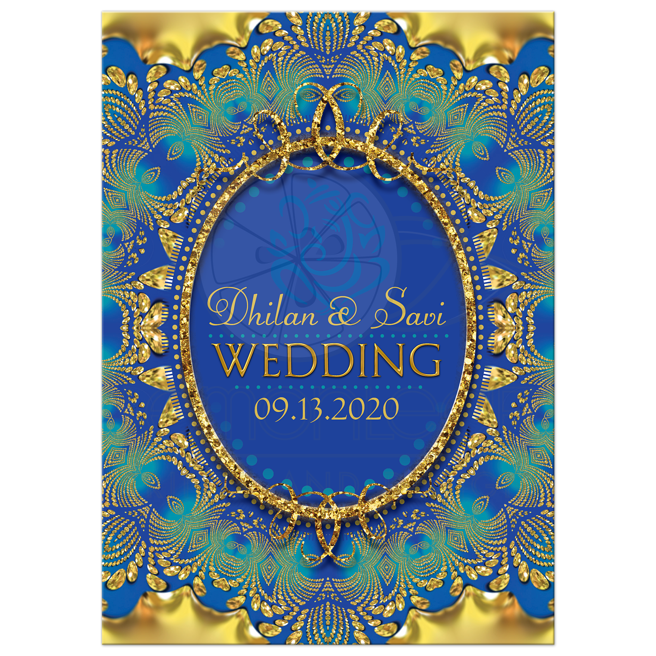 Glitter Gold & Blue Ganesha Indian Wedding Invitation