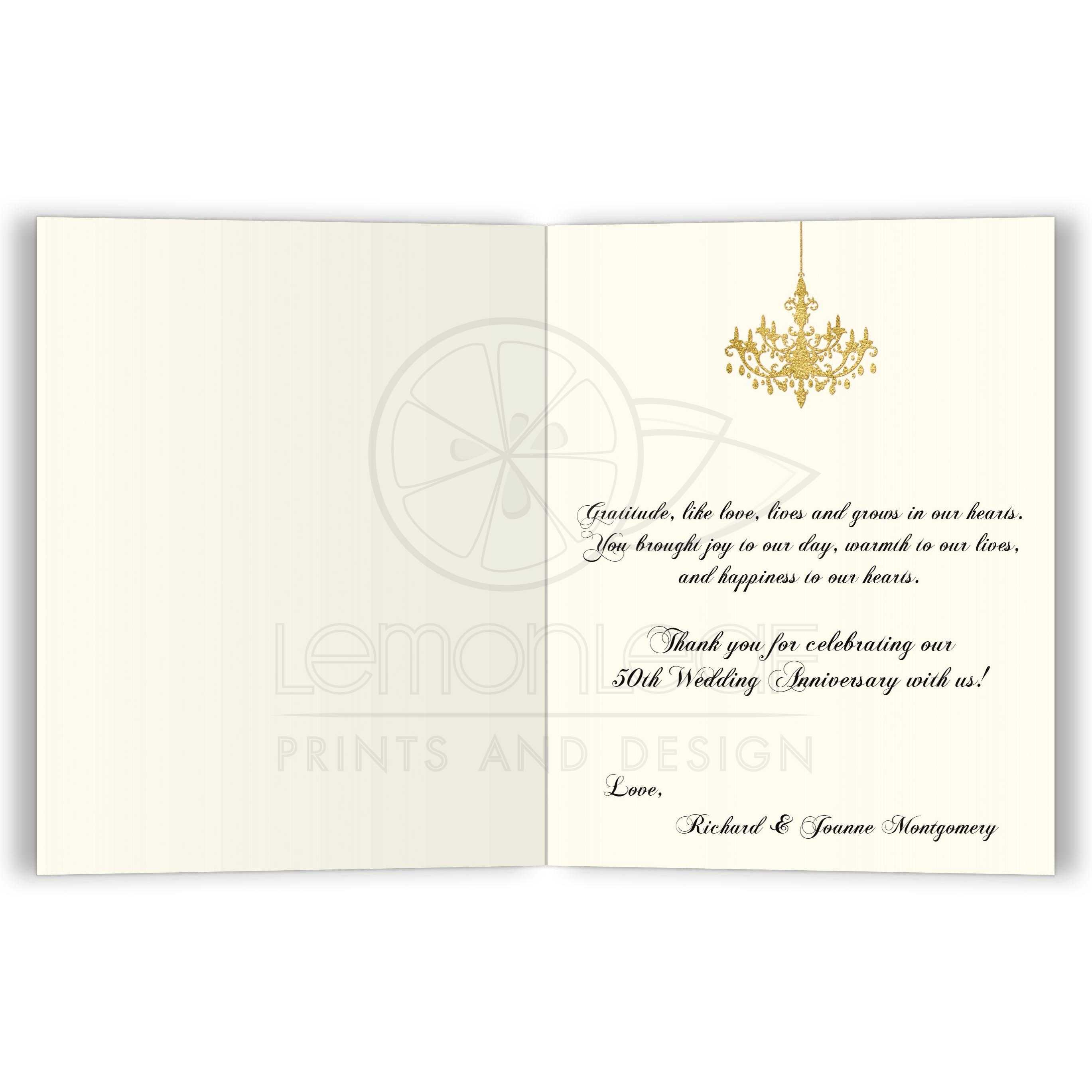 Personalized Thank You Card Faux Gold Foil Ivory Black Stripes