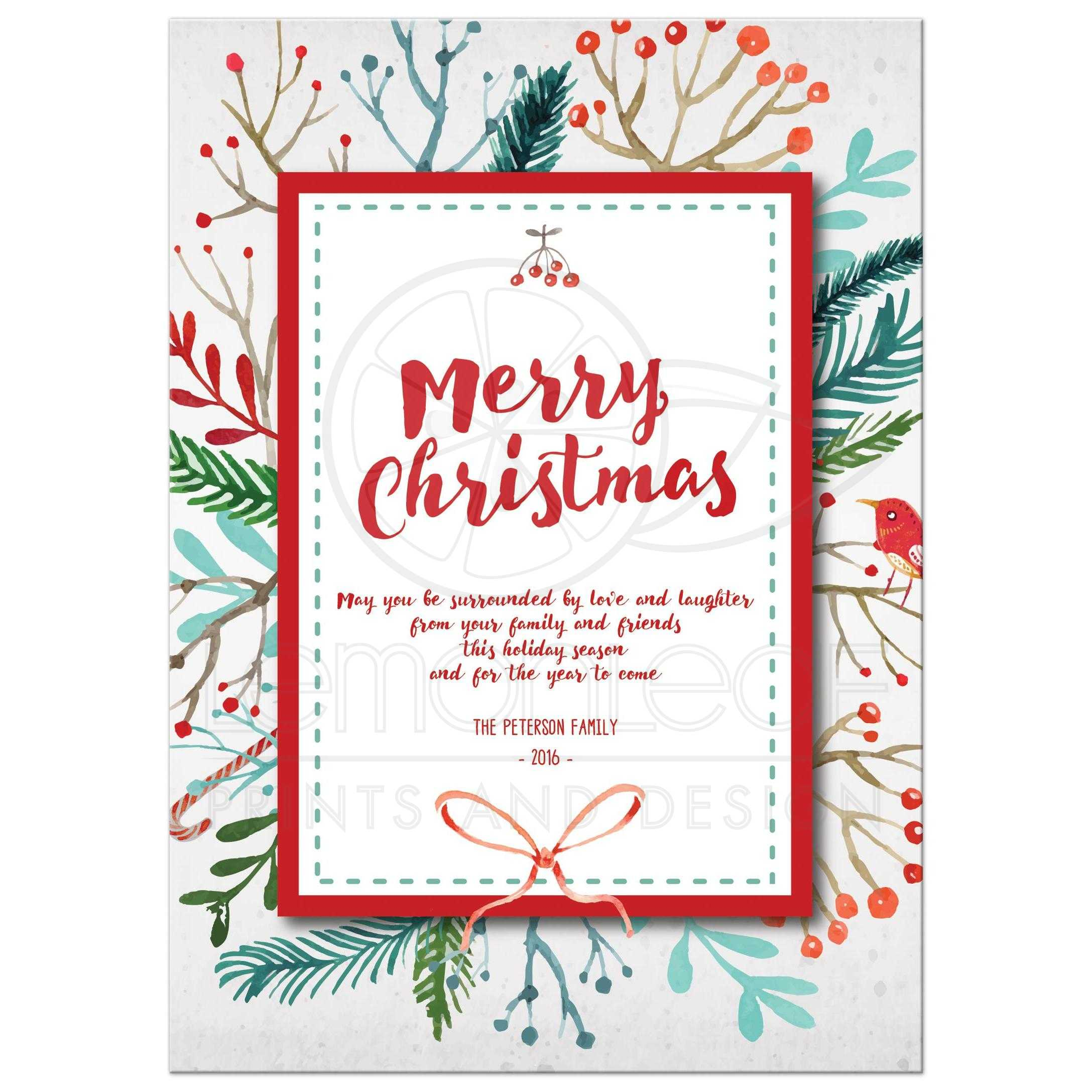 Merry Christmas Card - Watercolor Holiday Foliage