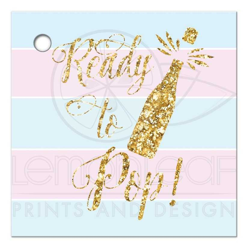 Ready To Pop Baby Shower Favor Gift Tags Blue Pink Gold Printed Glitter