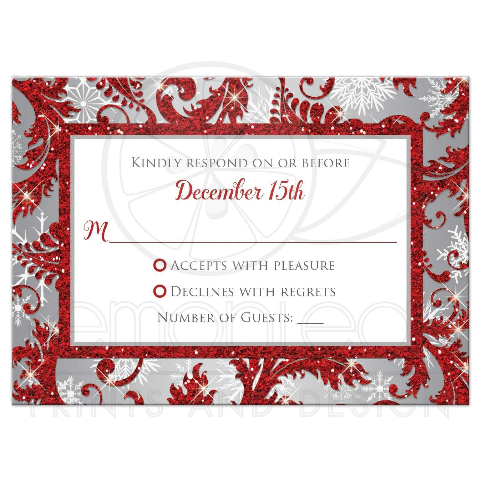 Wedding Reponse Card | Red Winter Wonderland | Silver, White ...
