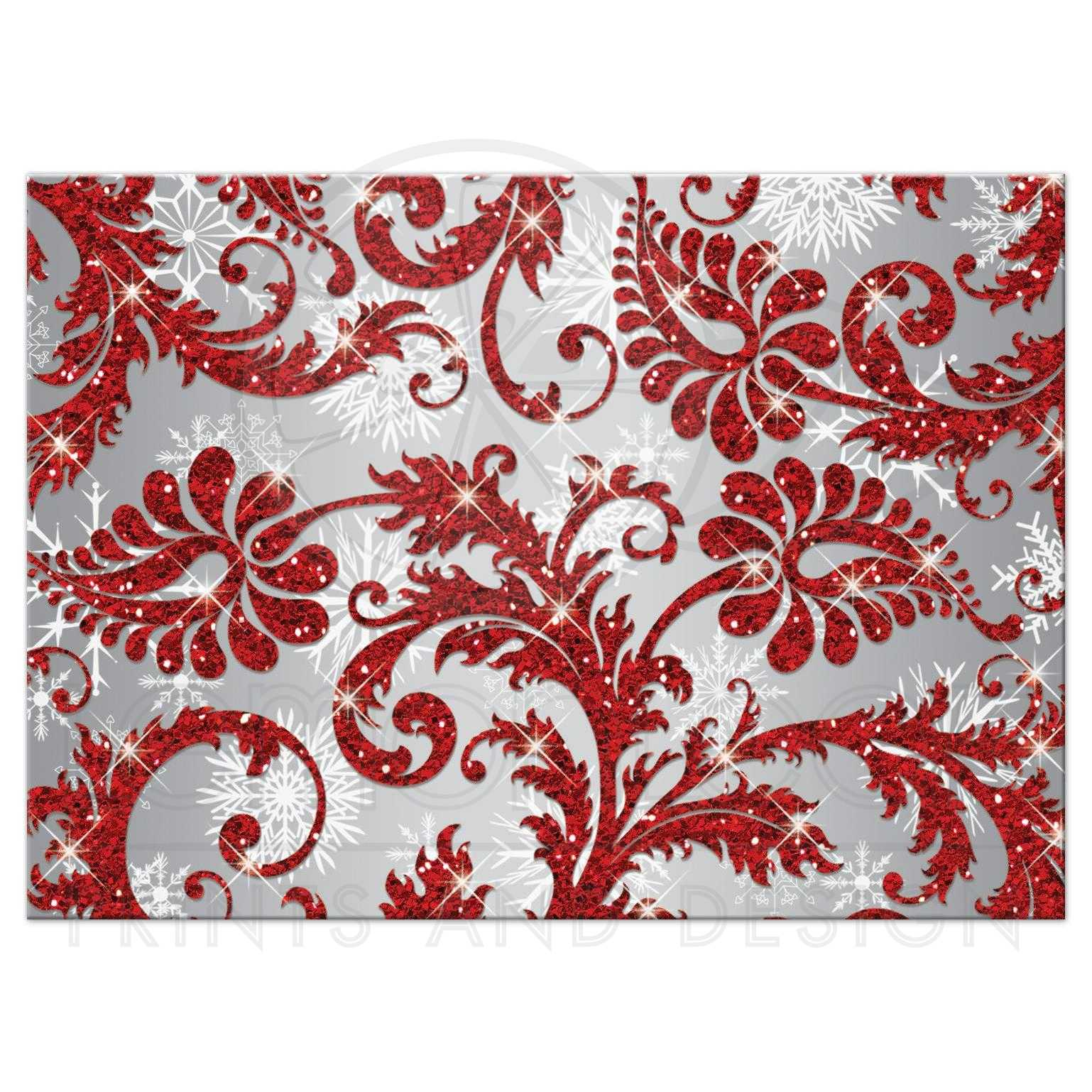 Wedding Reponse Card | Red Winter Wonderland | Silver, White ...