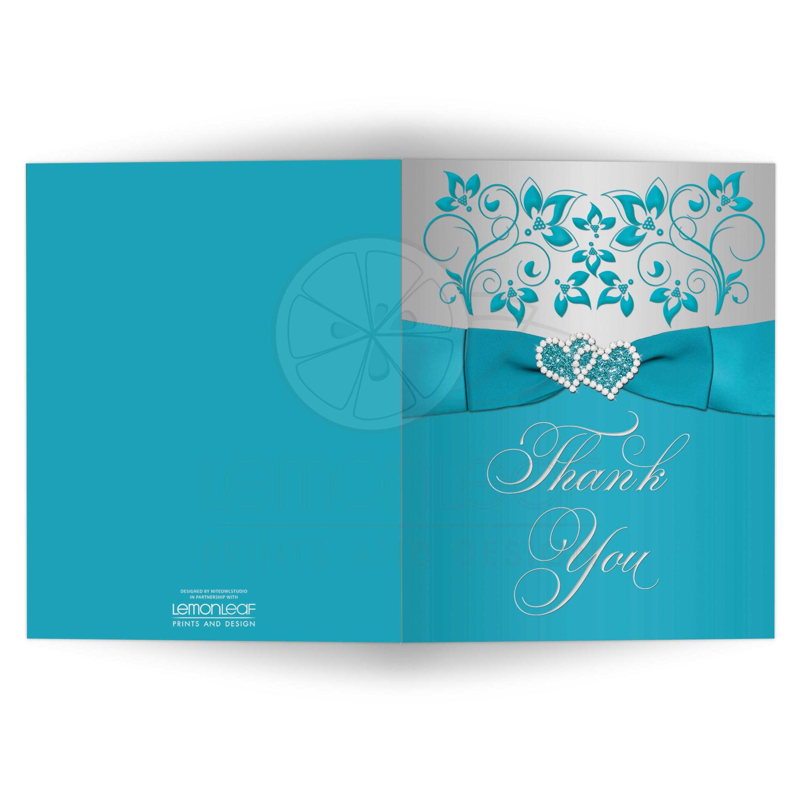 Ypus Silver Wedding Thank: Turquoise, Silver Floral