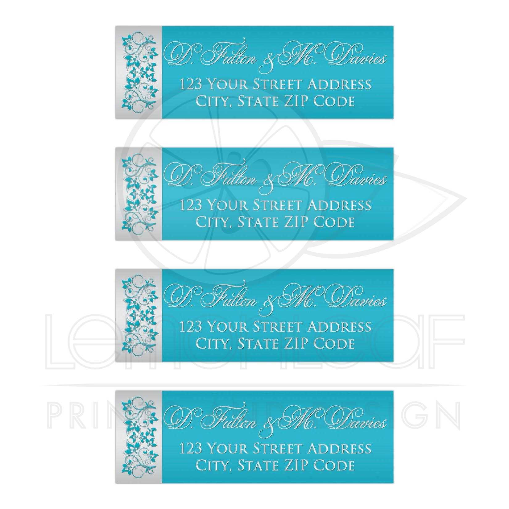 personalized address labels aqua blue silver grey floral