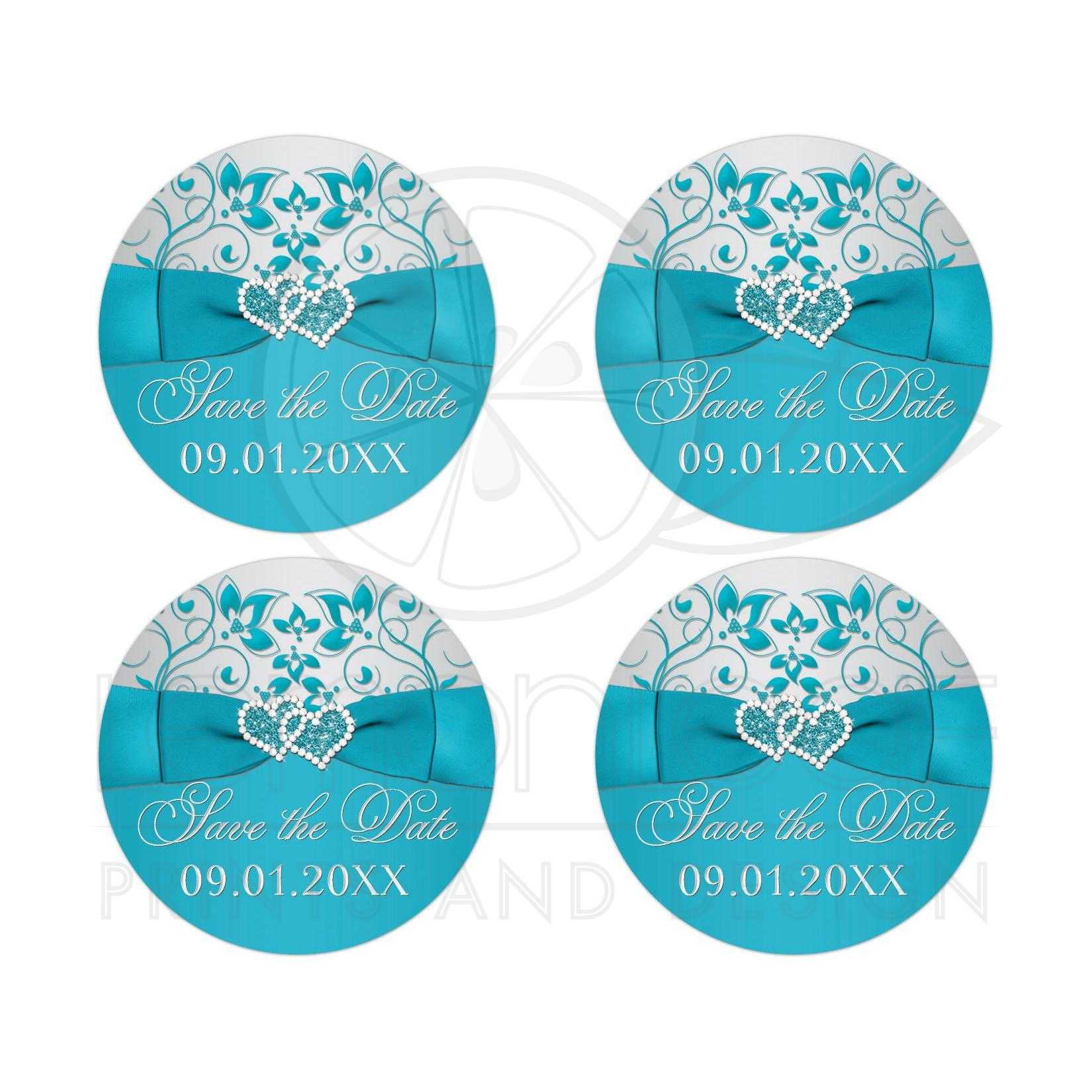 wedding save the date stickers printed ribbon joined jeweled