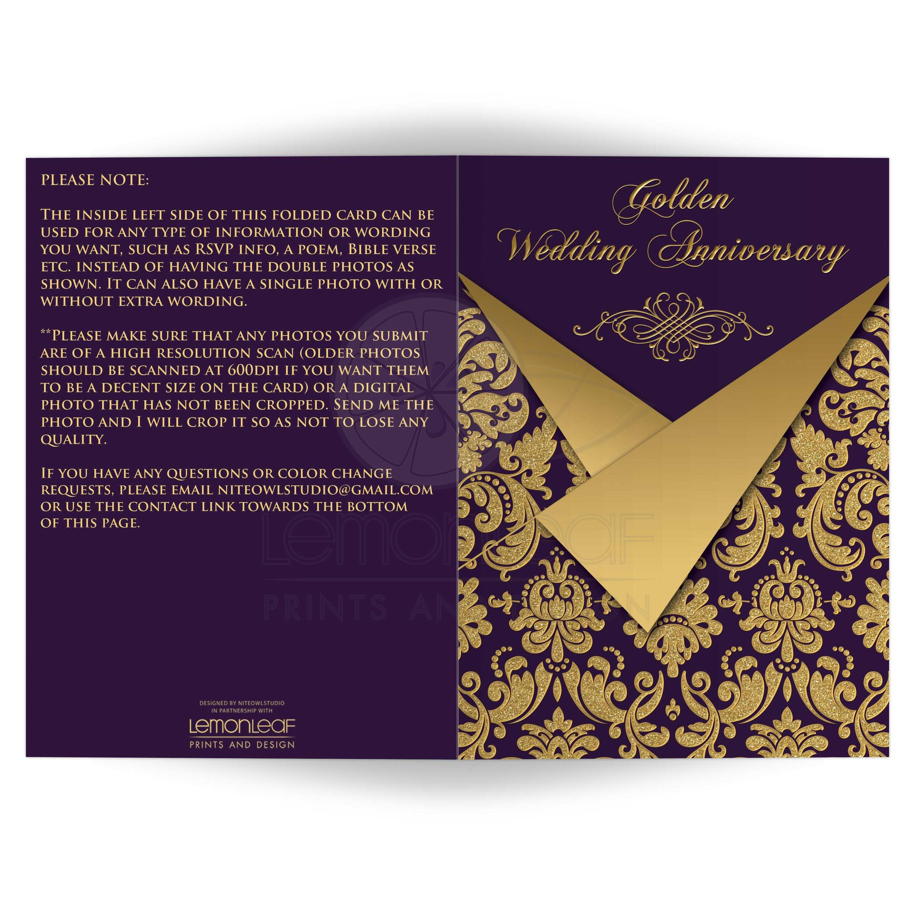 Royal Purple And Gold Damask 50th Wedding Anniversary Invitations With  Gold Scroll Work Frame.