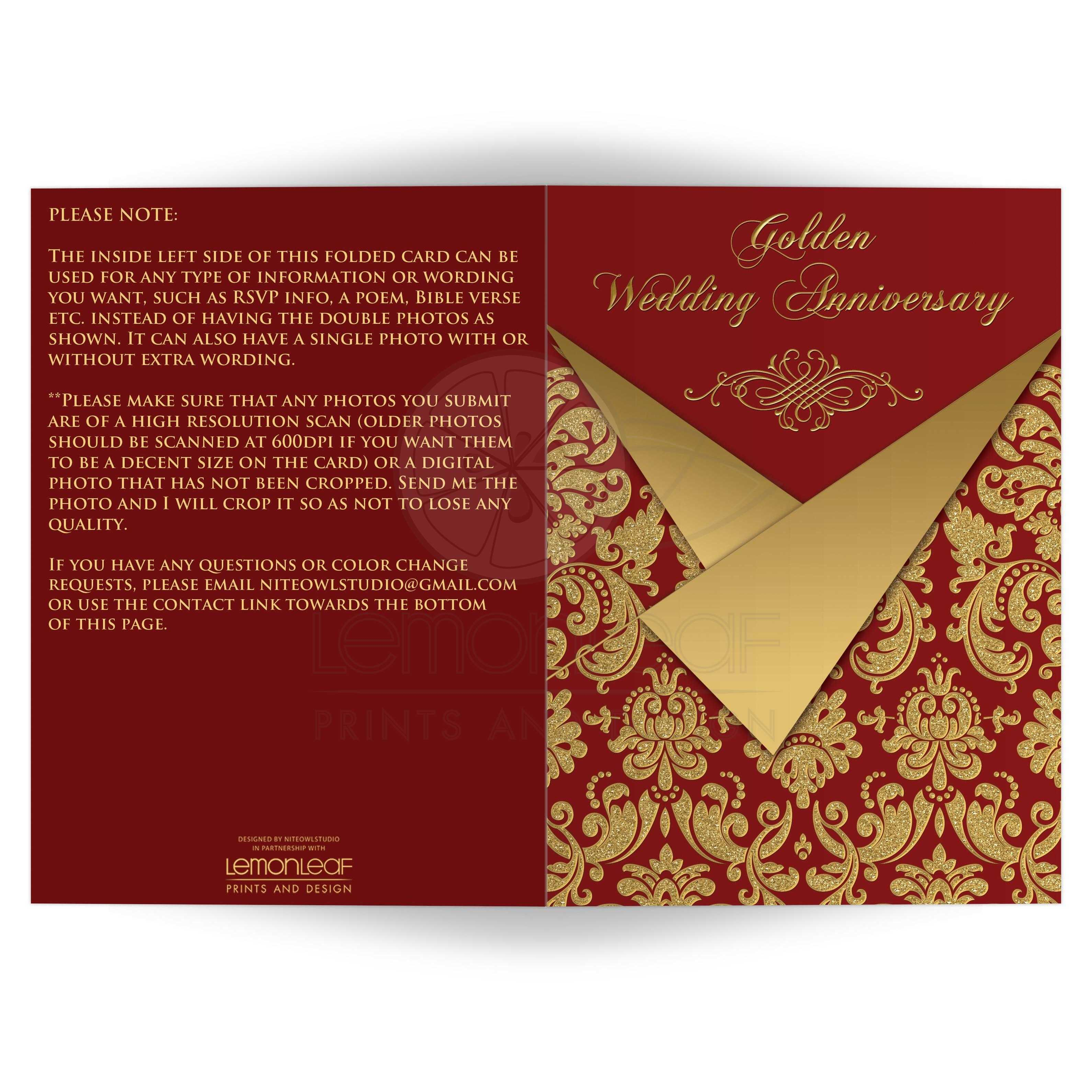 Optional Photos 50th Wedding Anniversary Invitation Card Red
